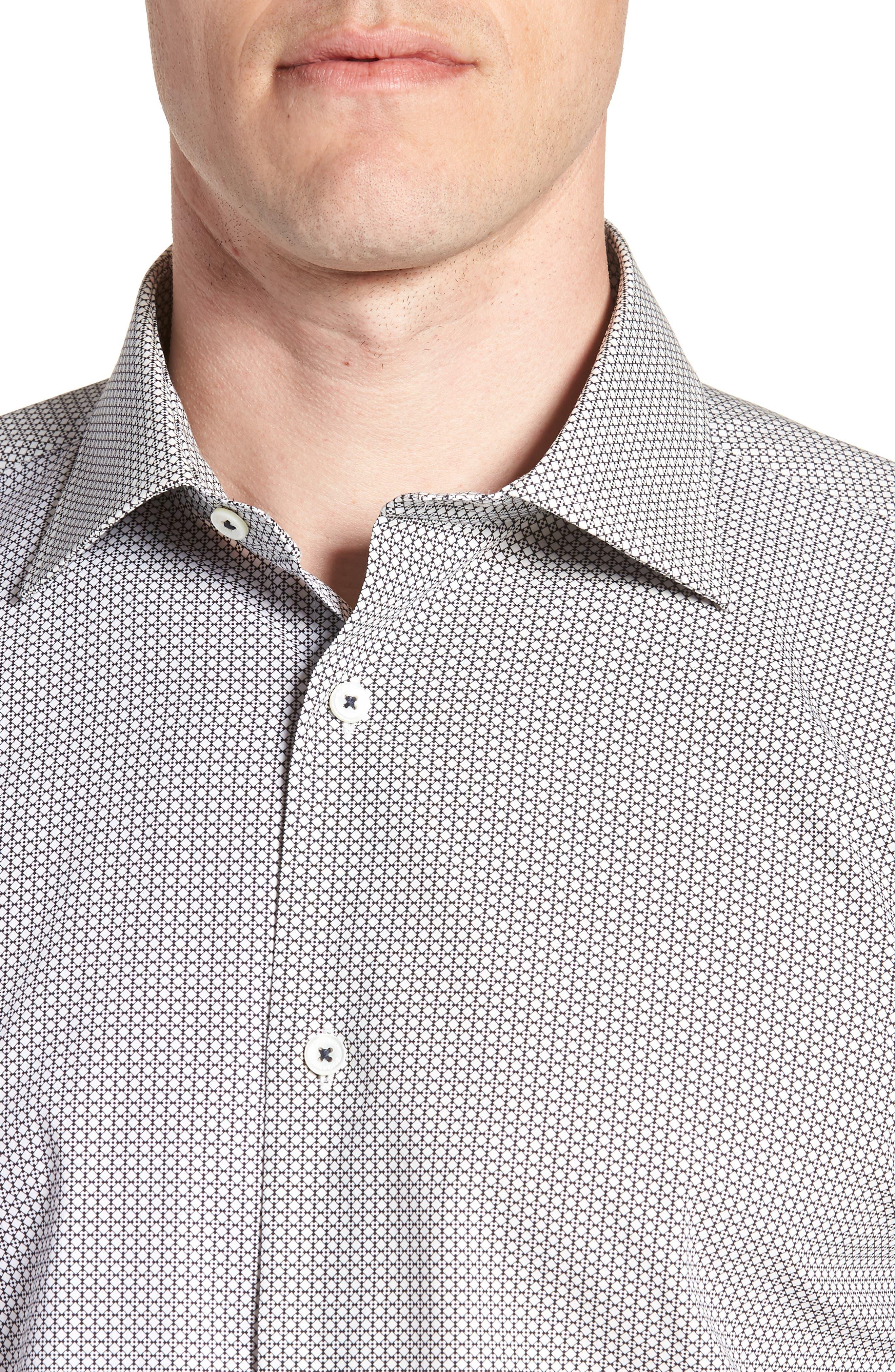 Trim Fit Print Dress Shirt,                             Alternate thumbnail 2, color,                             Platinum