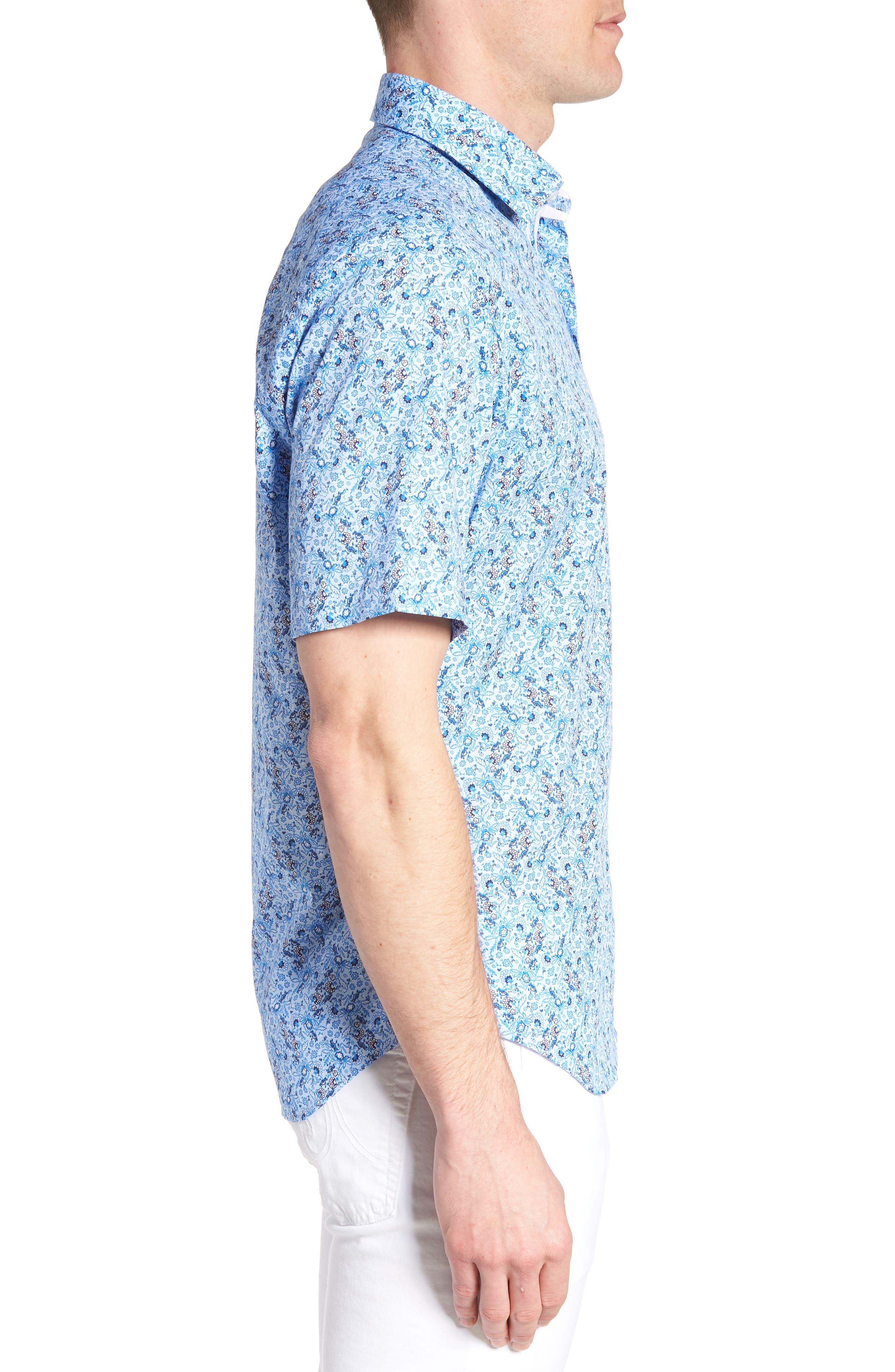 Baer Regular Fit Print Sport Shirt,                             Alternate thumbnail 4, color,                             Blue