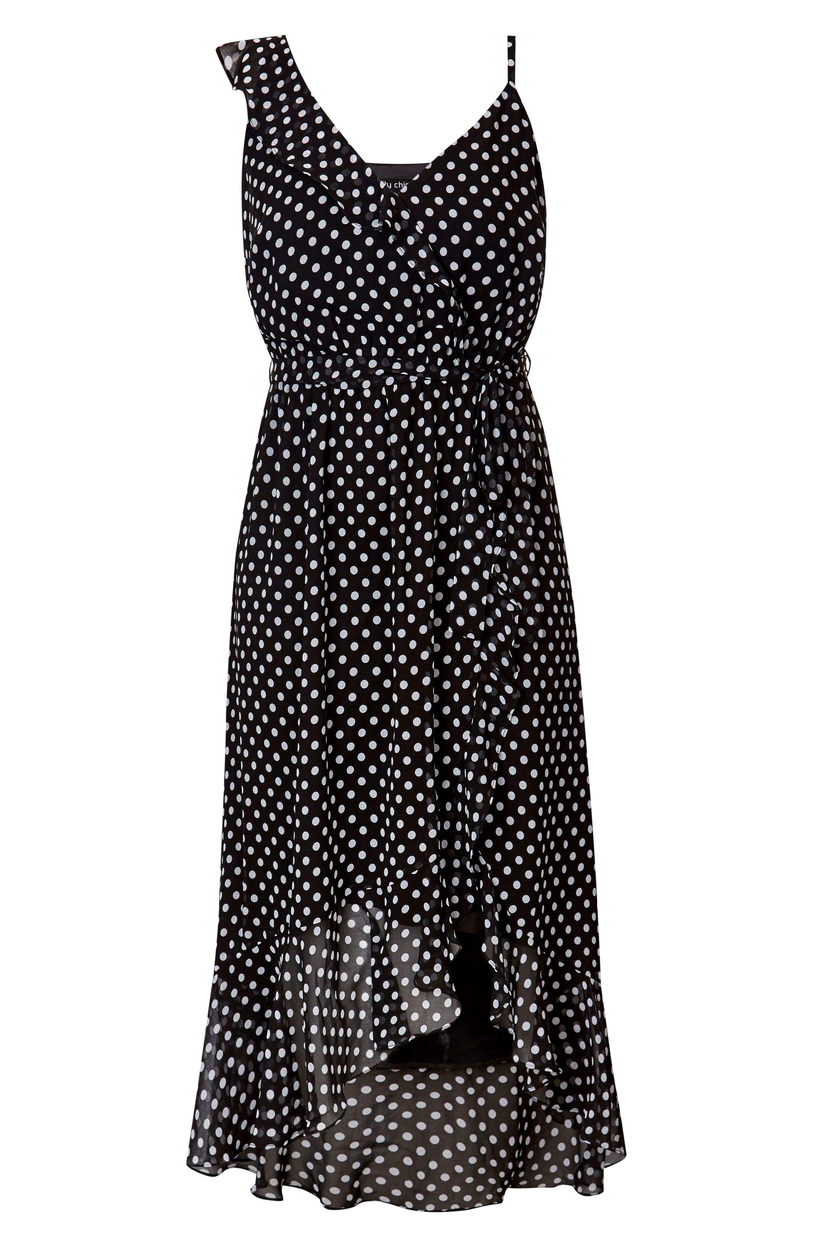 Dot Asymmetrical Wrap Dress,                             Alternate thumbnail 3, color,                             White Spot