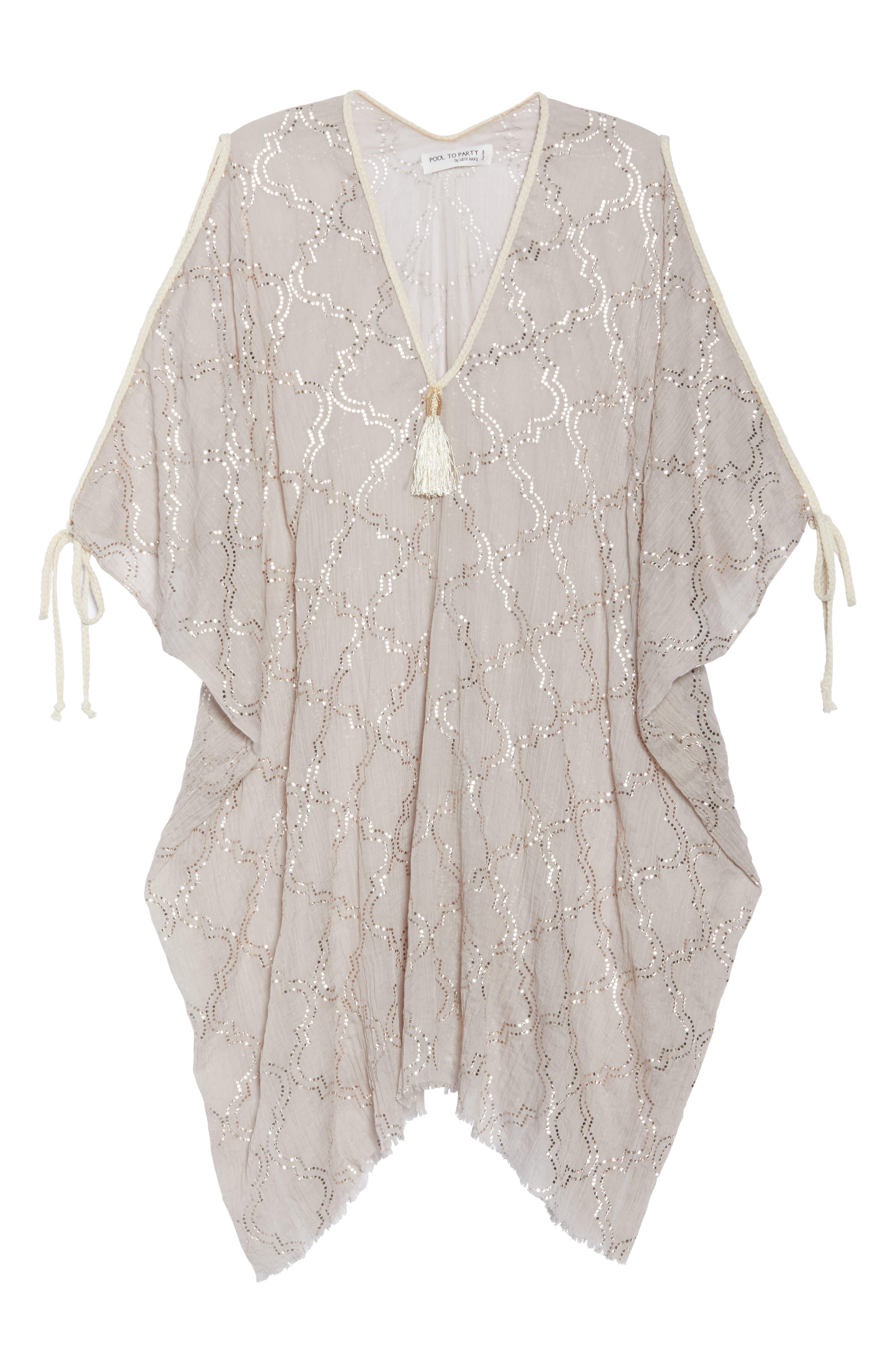 Cold Shoulder Cover-Up Dress,                             Alternate thumbnail 6, color,                             Sand