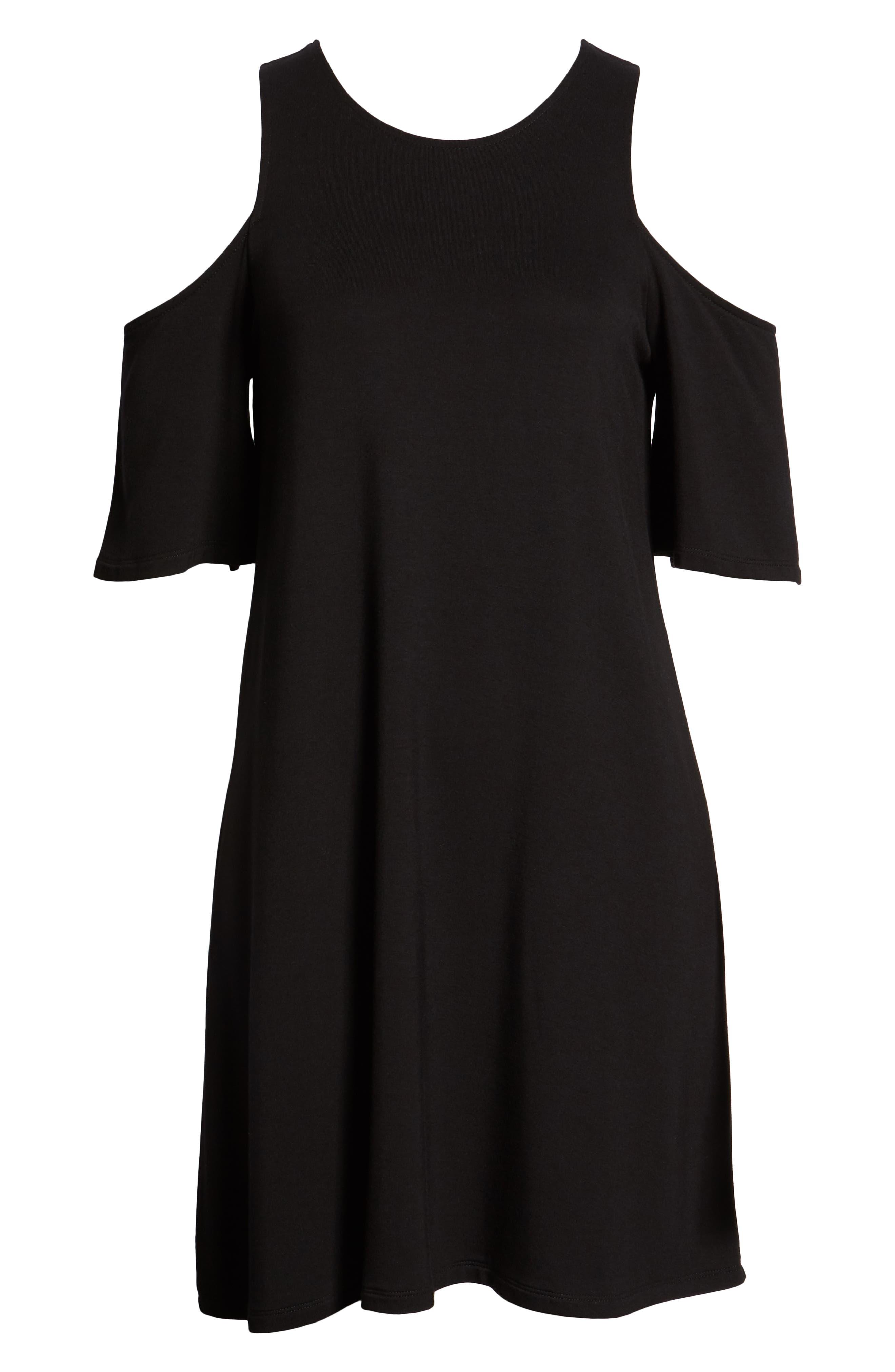 Hyde Cold Shoulder T-Shirt Dress,                             Alternate thumbnail 7, color,                             Black