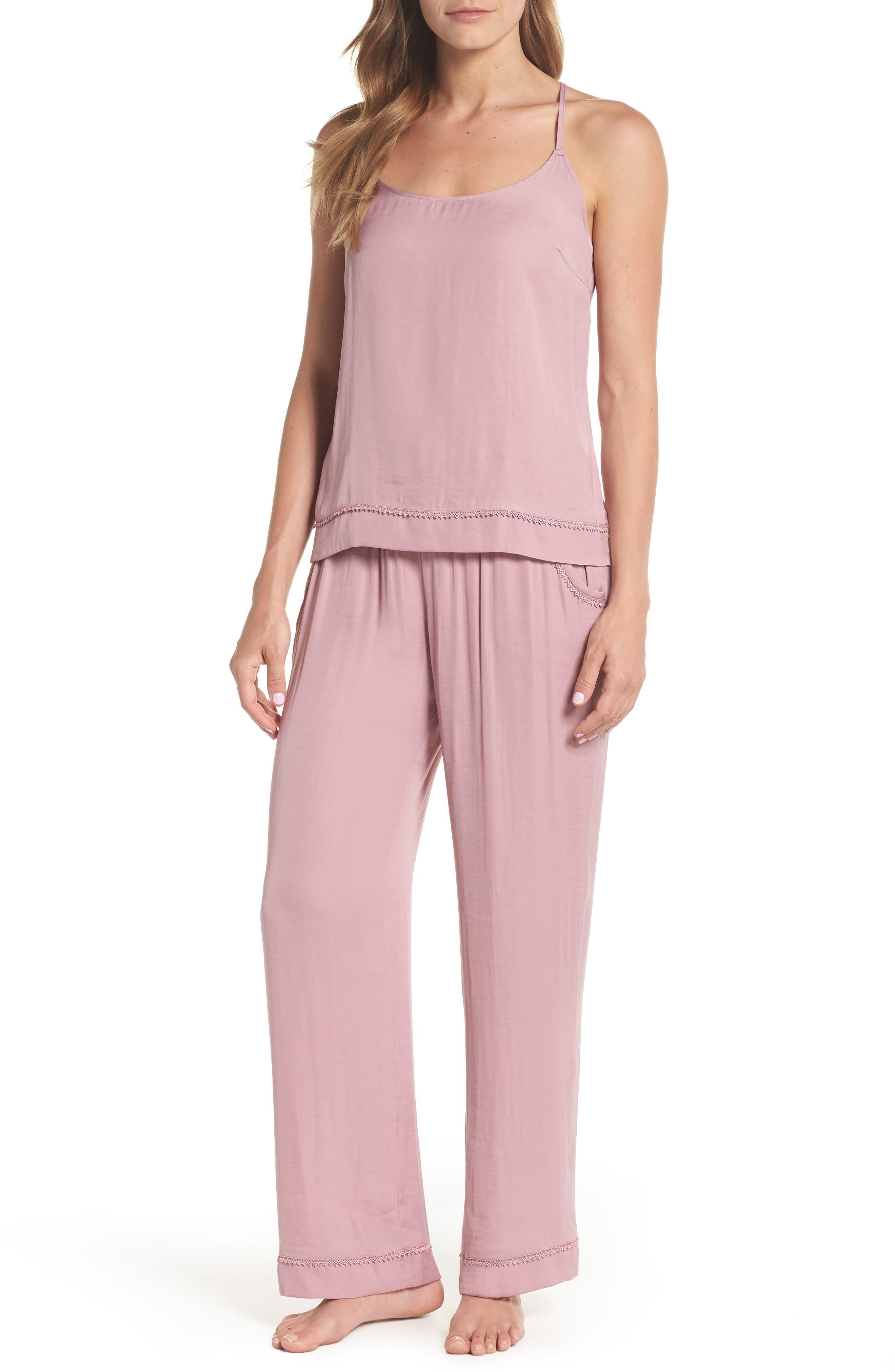 Sweet Dreams Satin Pajamas,                         Main,                         color, Purple Lilas