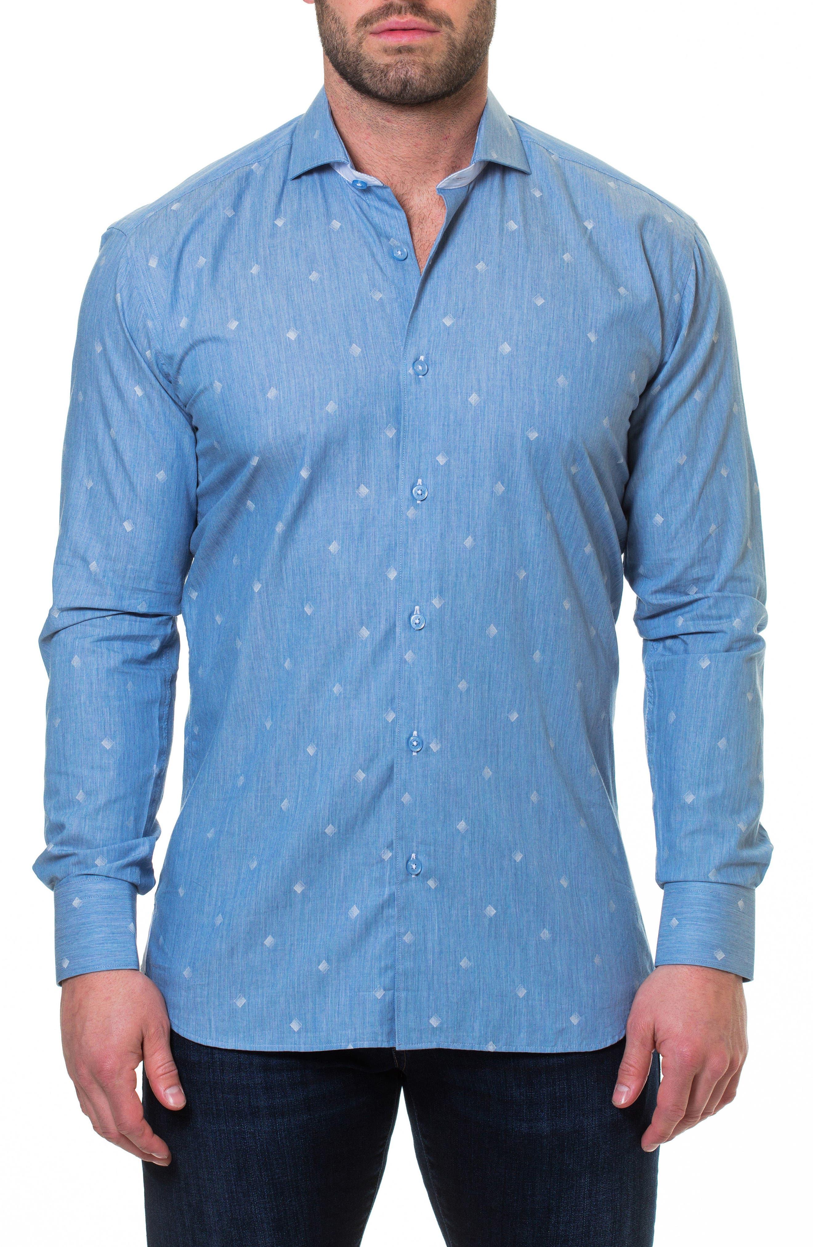 Wall Street Print Sport Shirt,                             Alternate thumbnail 3, color,                             Blue