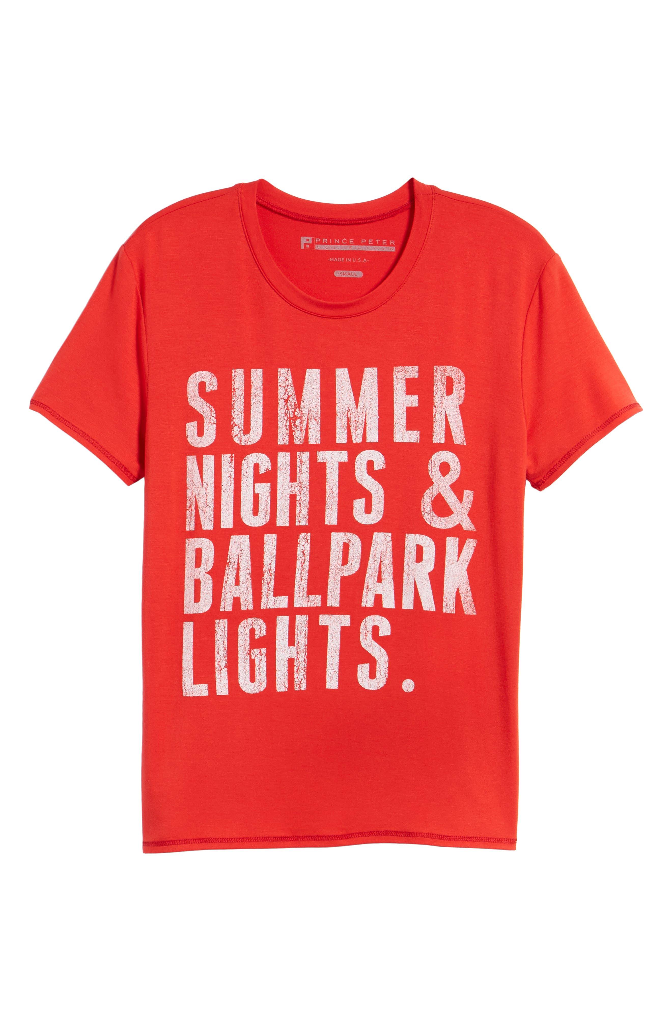 Summer Nights & Ballpark Lights Tee,                             Alternate thumbnail 7, color,                             Red