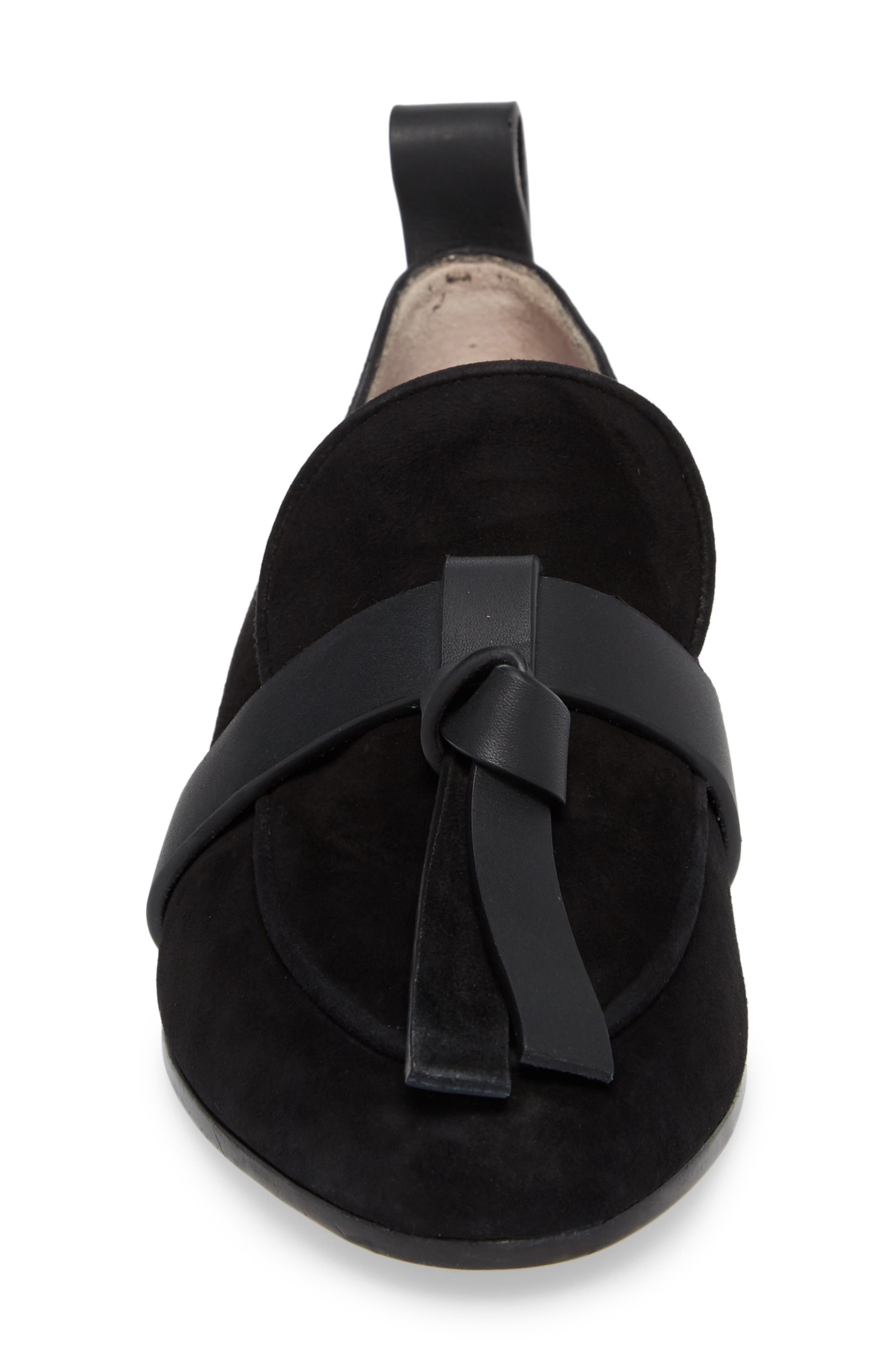 Prescott Knotted Loafer,                             Alternate thumbnail 4, color,                             Black Suede