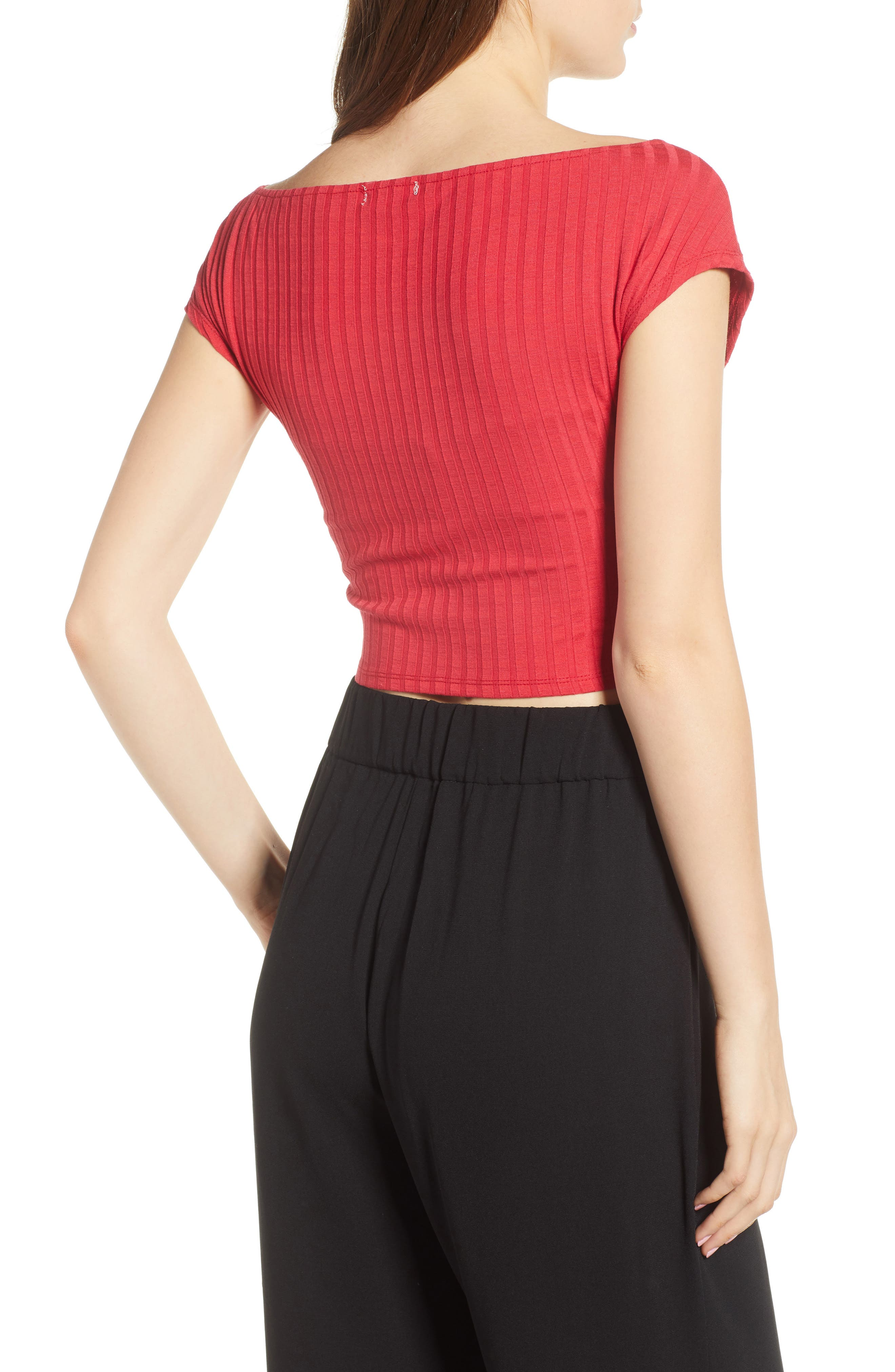 Ribbed Wrap Crop Top,                             Alternate thumbnail 2, color,                             Red