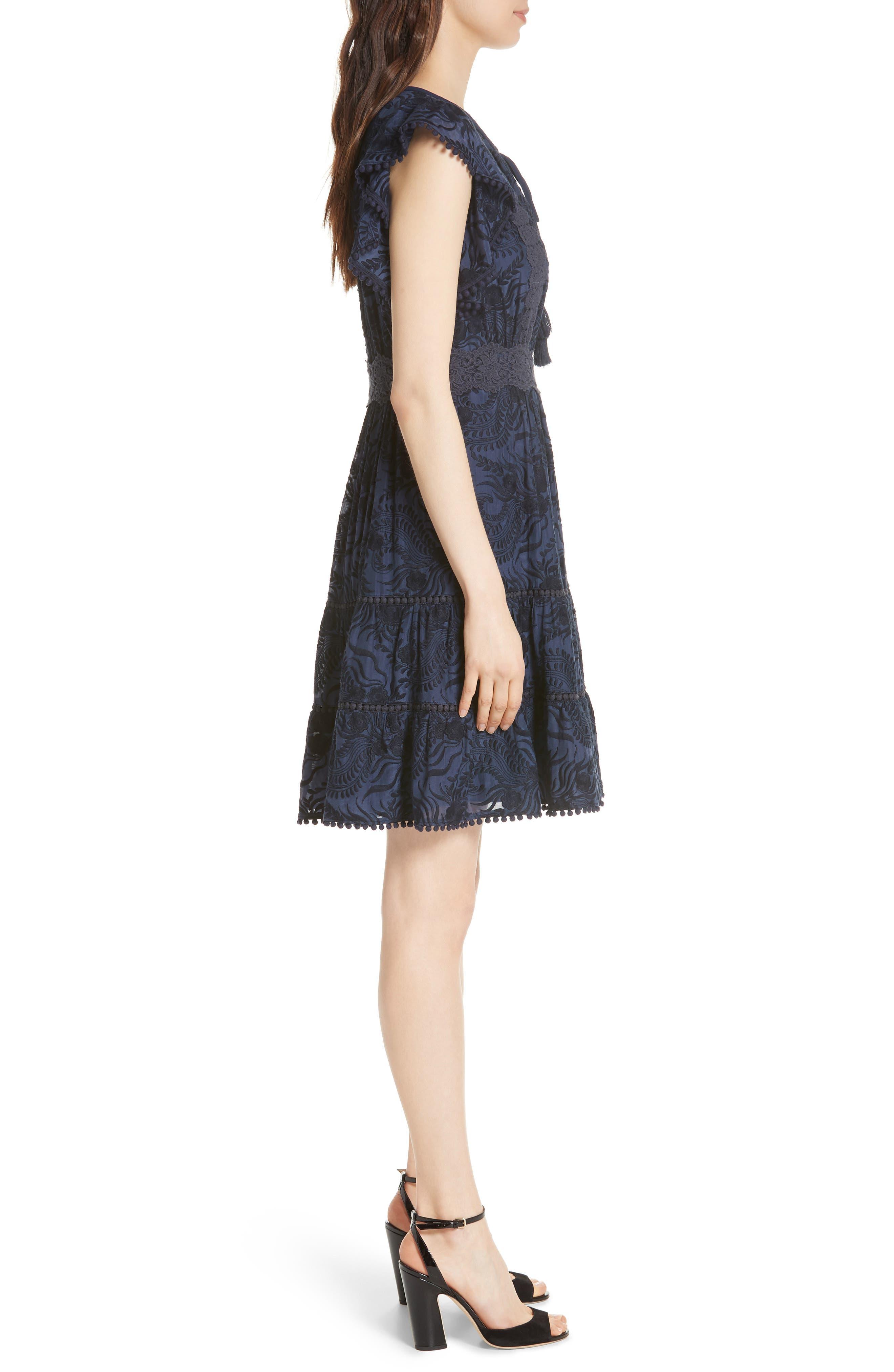 jenette cotton silk fit & flare dress,                             Alternate thumbnail 3, color,                             Rich Navy