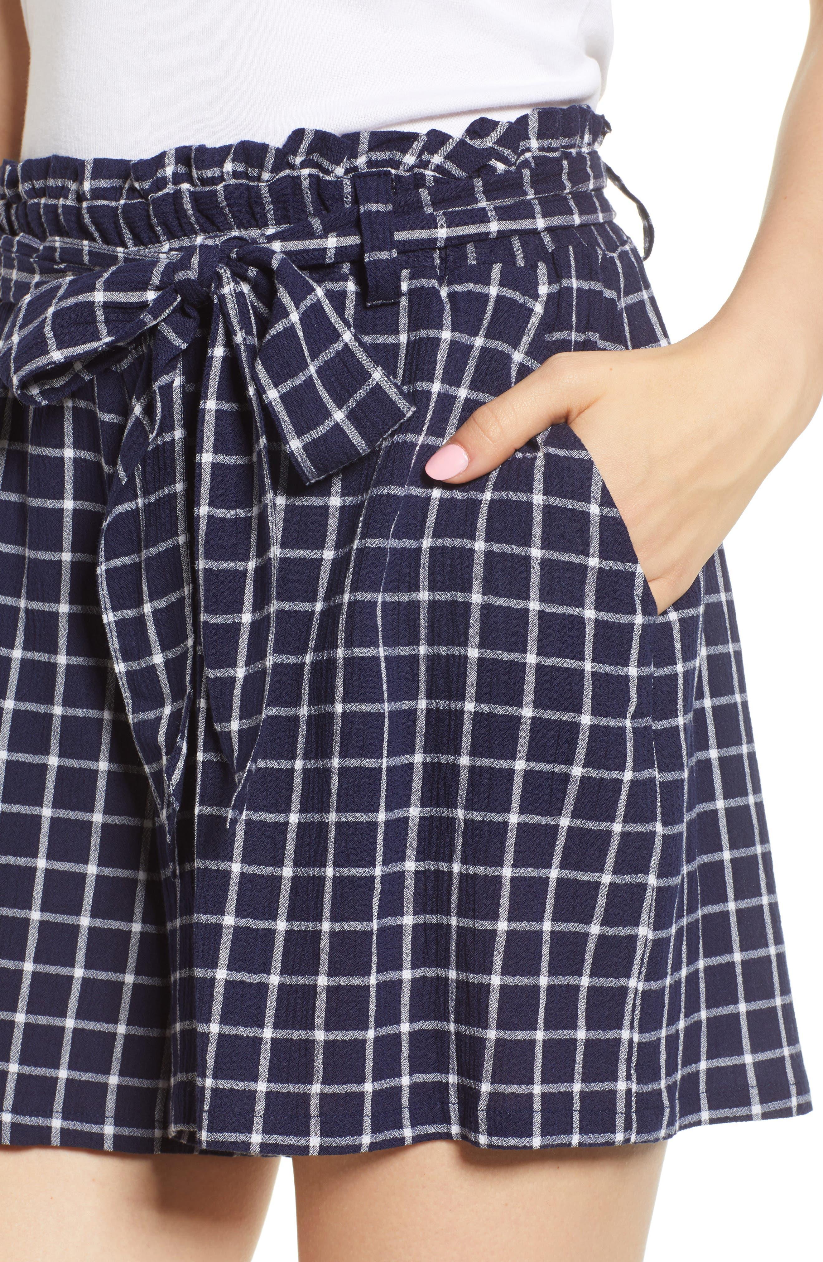 Plaid Paper Bag Waist Shorts,                             Alternate thumbnail 5, color,                             Navy Peacoat Tokyo Check