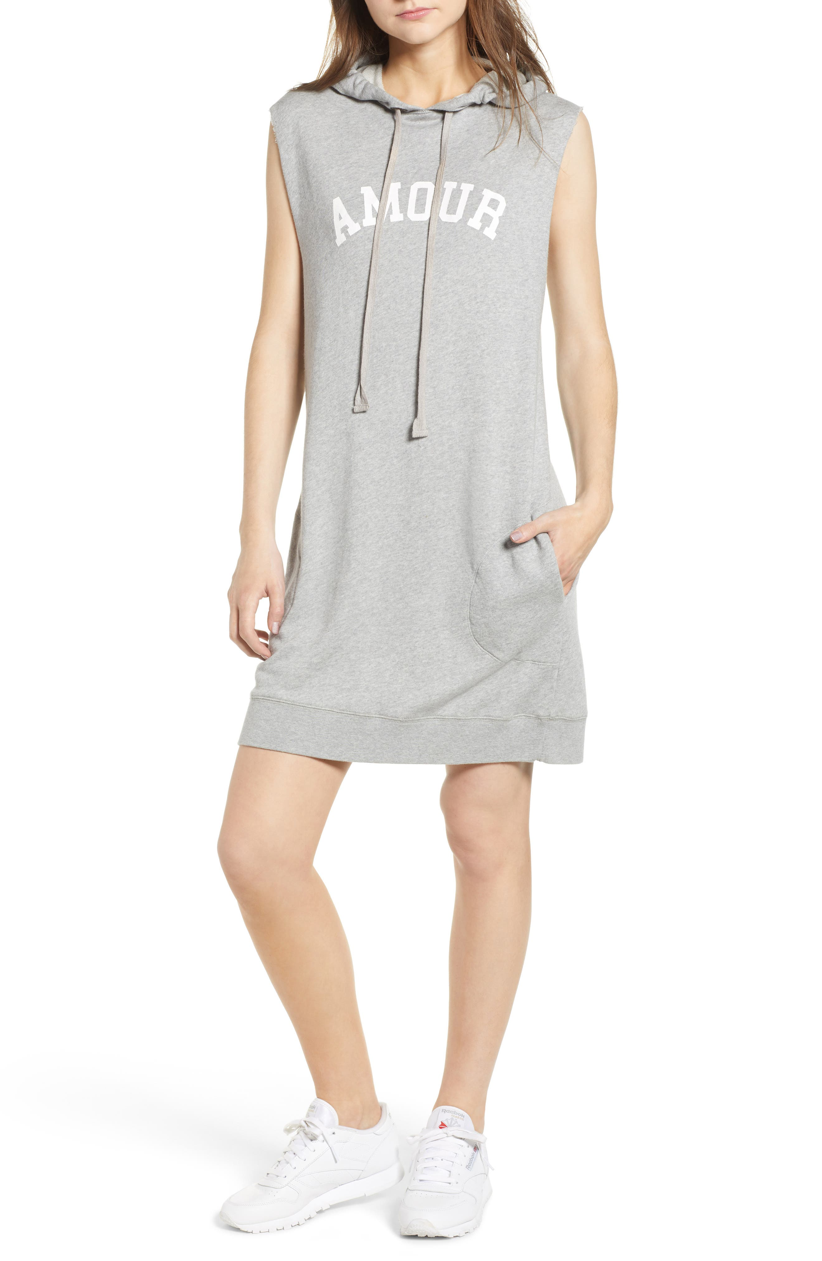 Sia Bis Hooded Dress,                             Main thumbnail 1, color,                             Melange Grey