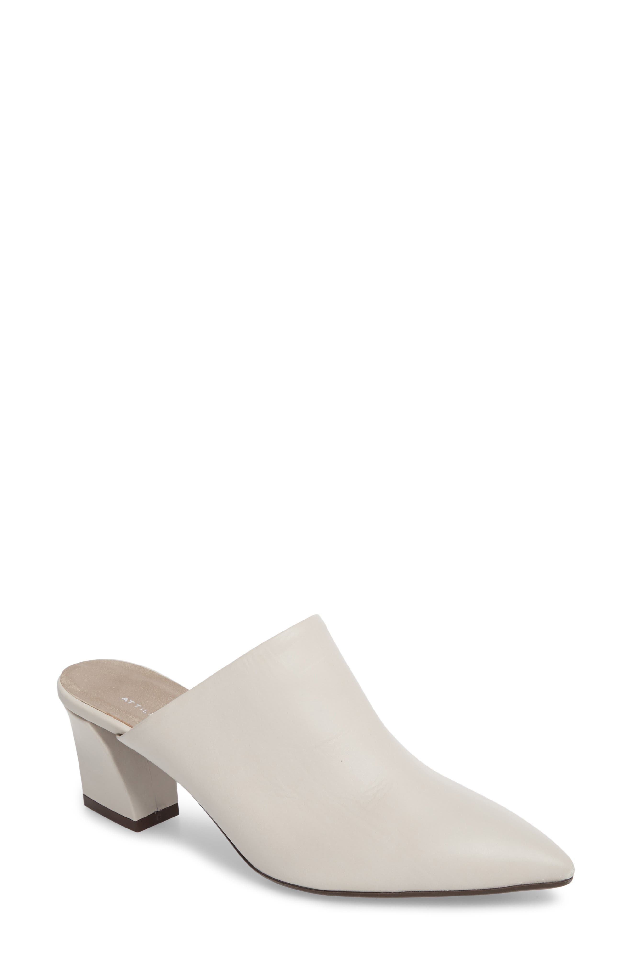 Pointy Toe Mule,                             Main thumbnail 1, color,                             Off White Leather