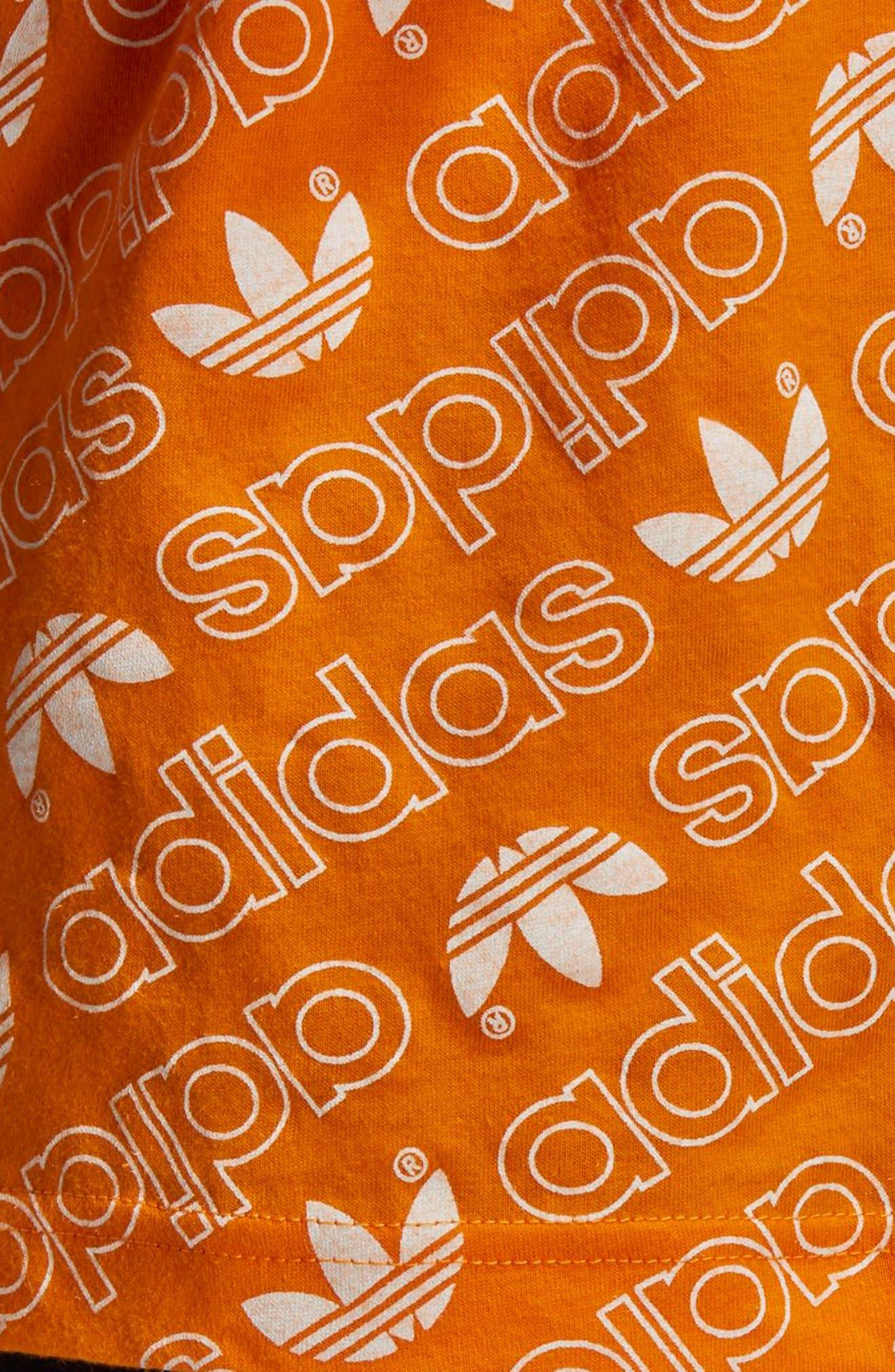 Monogram Allover Print T-Shirt,                             Alternate thumbnail 5, color,                             Bright Orange