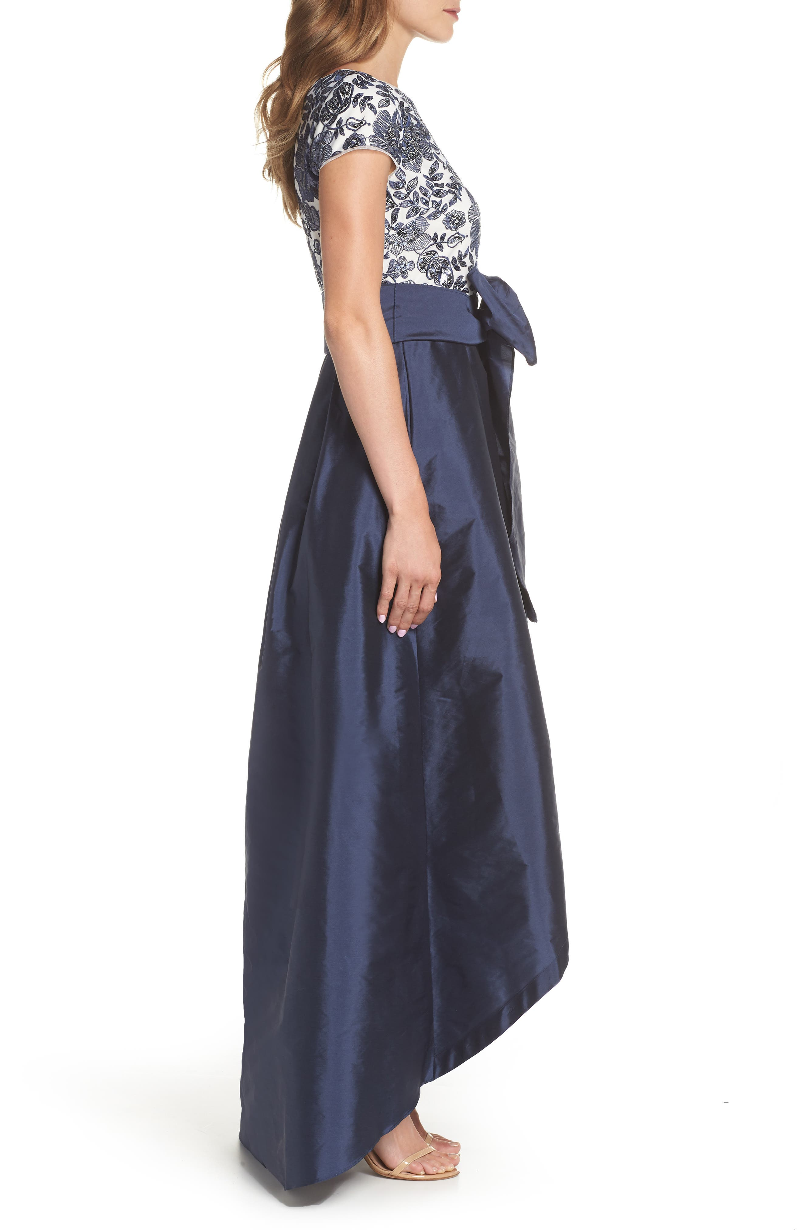 Sequin Bodice High/Low Ballgown,                             Alternate thumbnail 3, color,                             Midnight/ Ivory