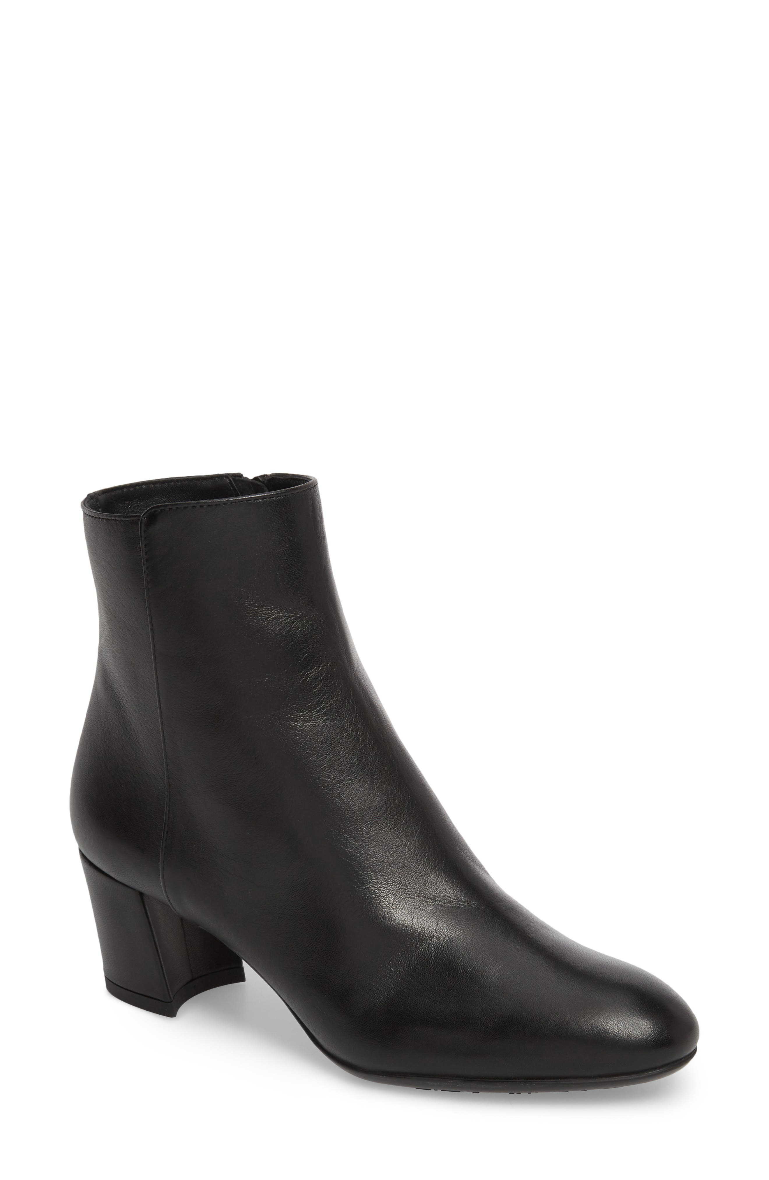 AGL ATTILIO GIUSTI LEOMBRUNI Block Heel Bootie, Black Leather