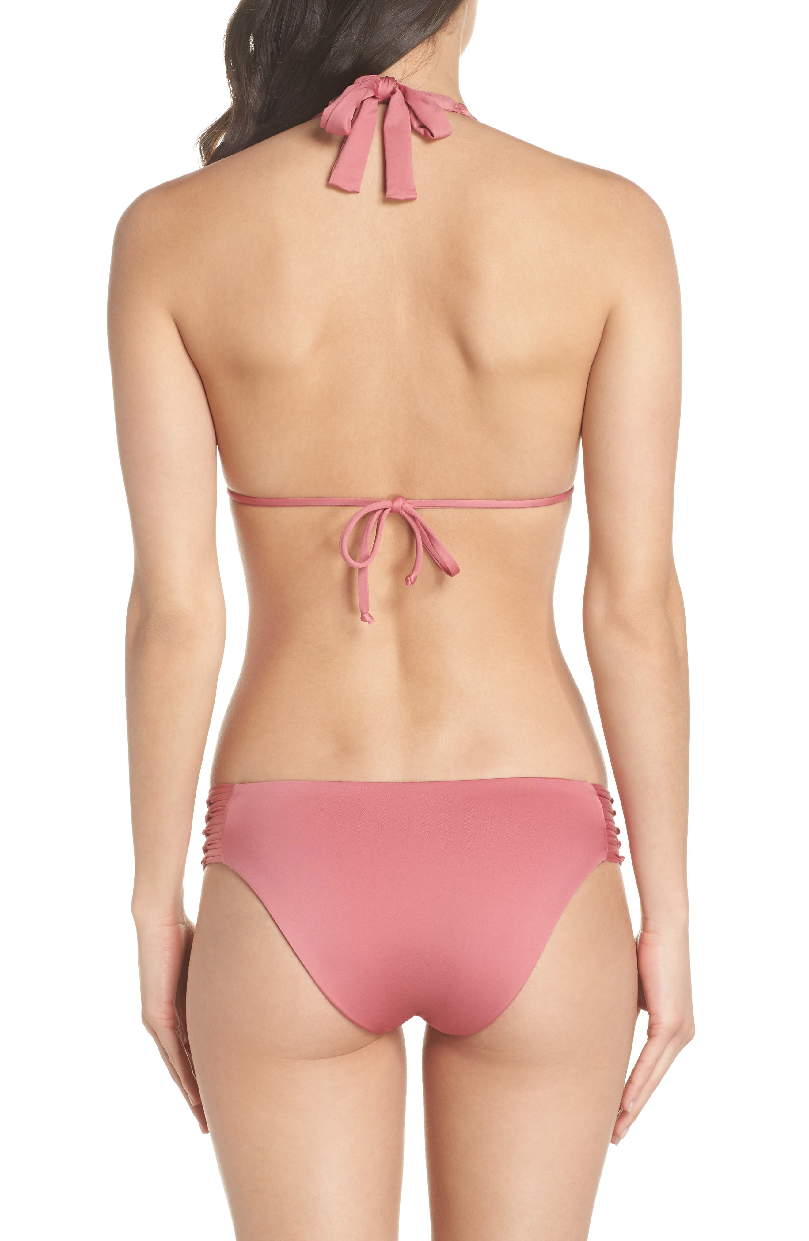 Why Knot String Bikini Top,                             Alternate thumbnail 8, color,                             Dusty Rose