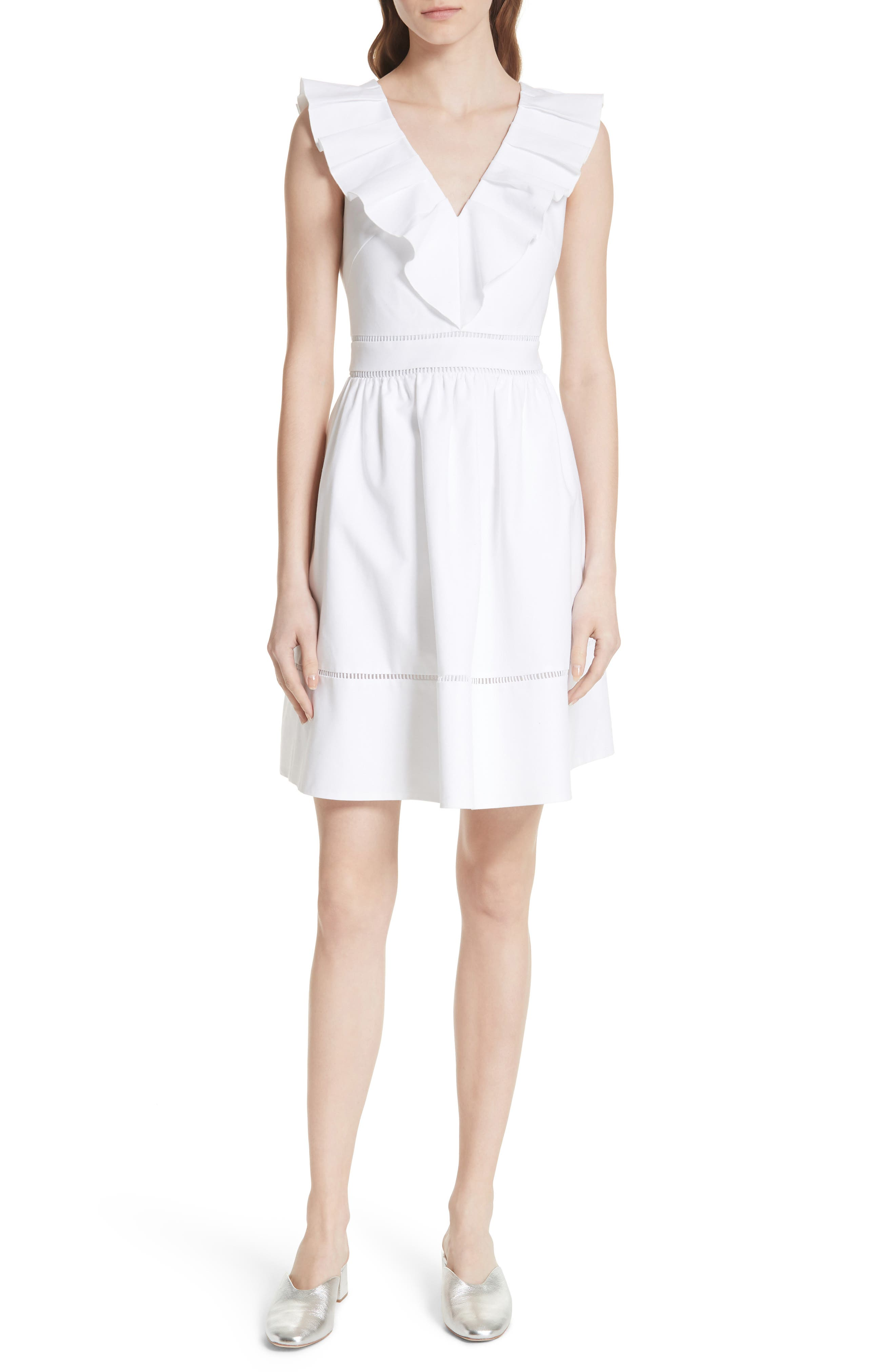 sleeveless ruffle neck stretch cotton dress,                             Main thumbnail 1, color,                             Fresh White