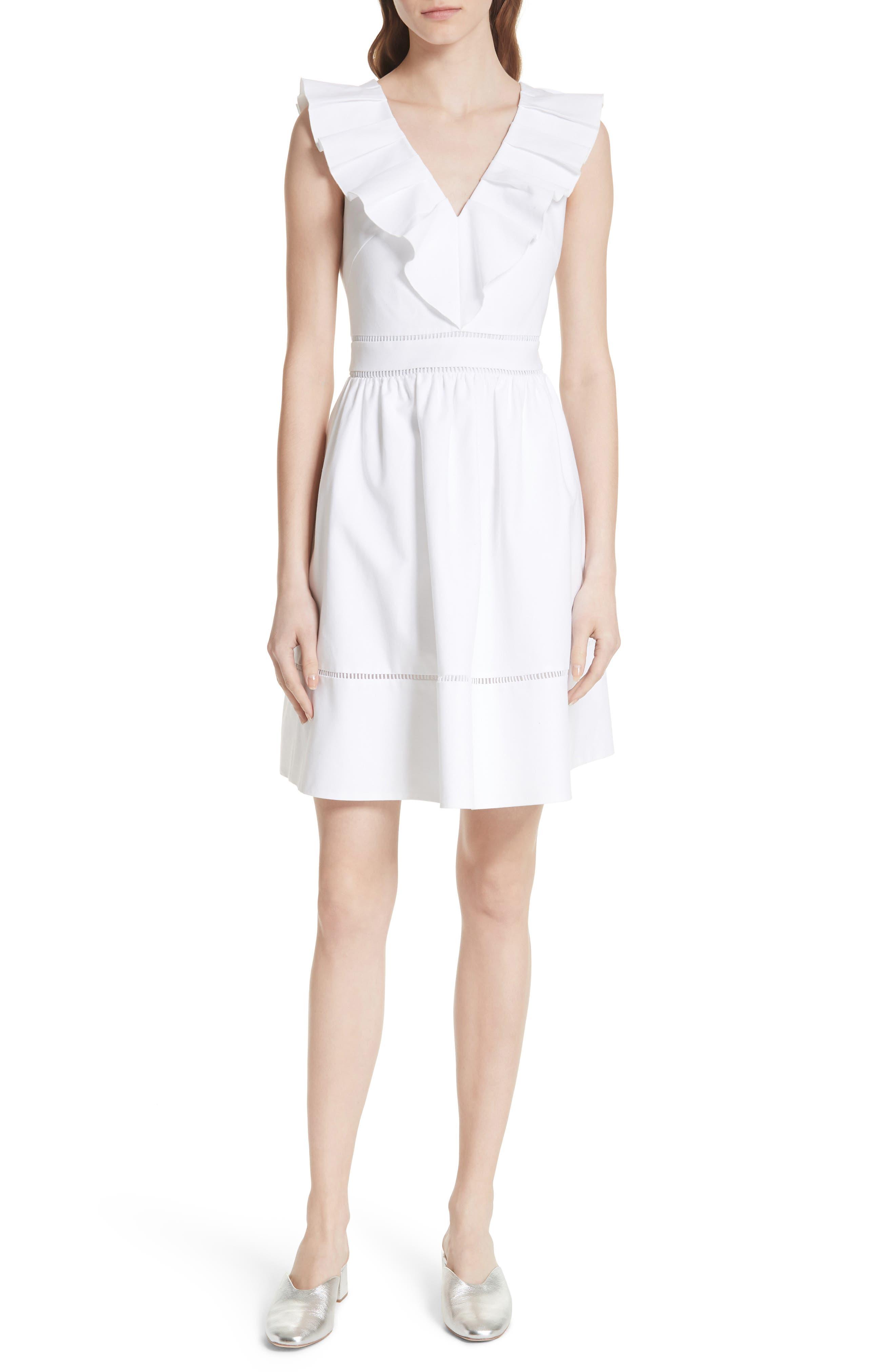sleeveless ruffle neck stretch cotton dress,                         Main,                         color, Fresh White