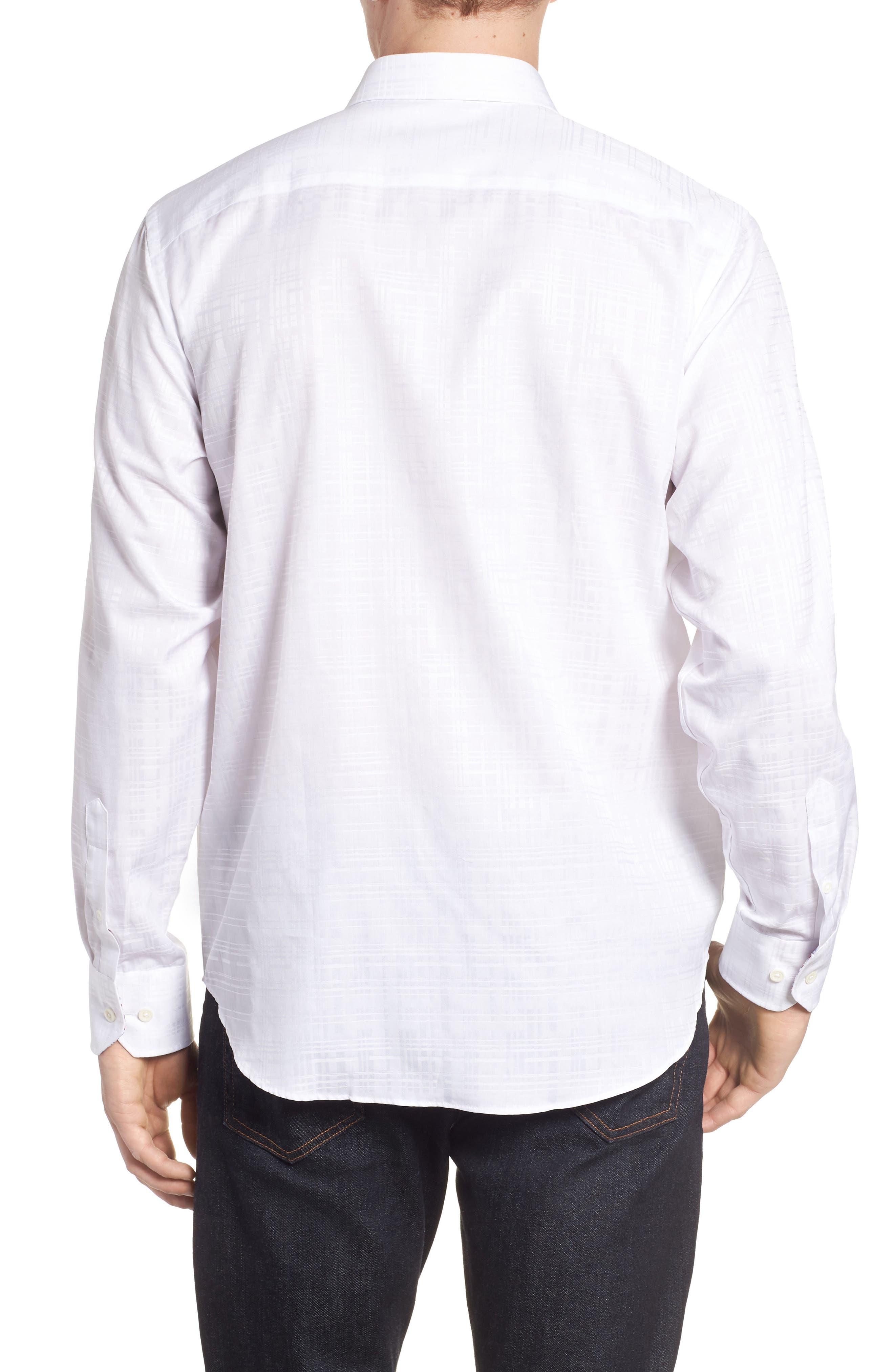 Classic Fit Tonal Check Sport Shirt,                             Alternate thumbnail 3, color,                             White