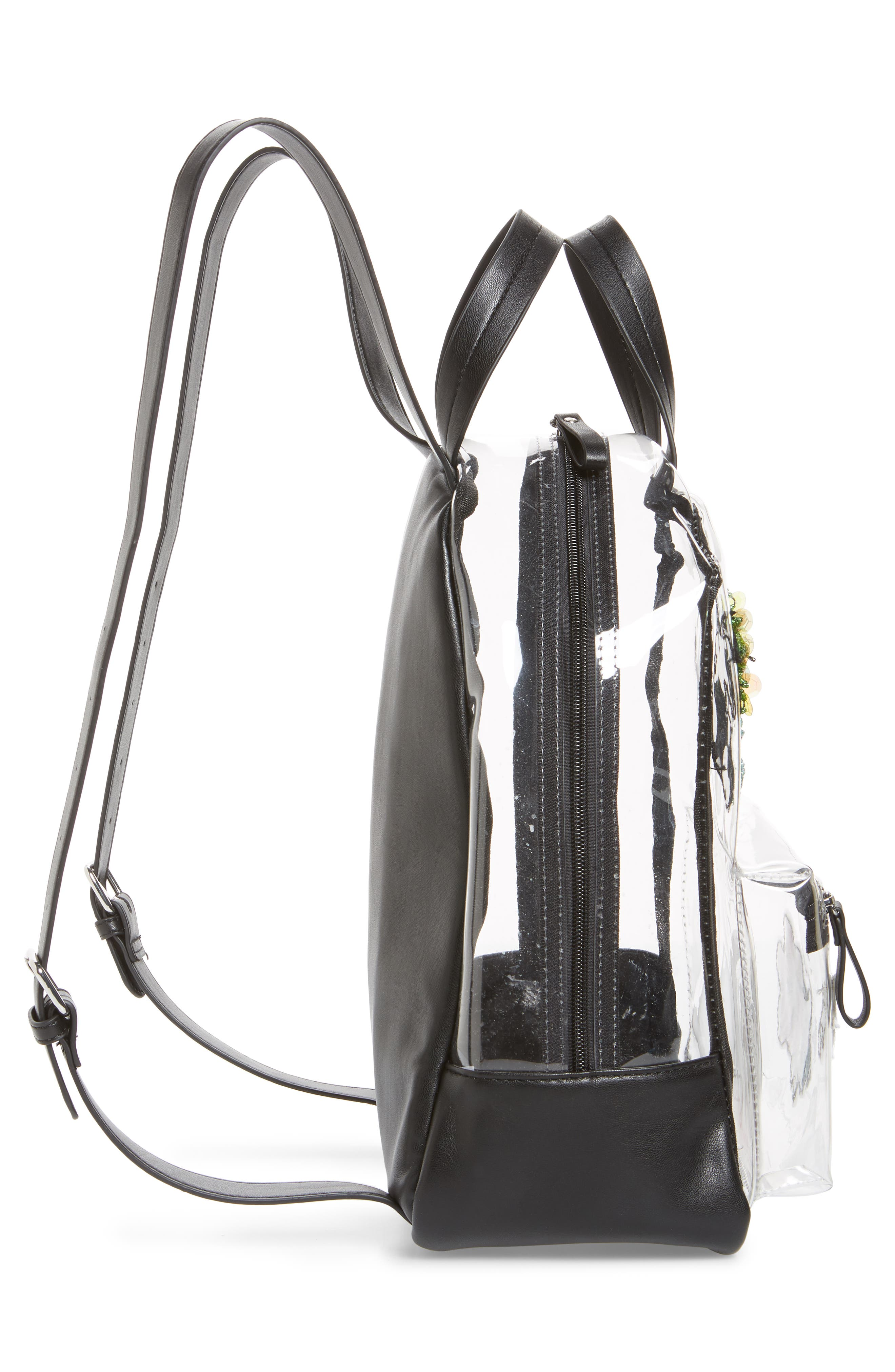 Clear Appliquéd Backpack,                             Alternate thumbnail 3, color,                             Clear
