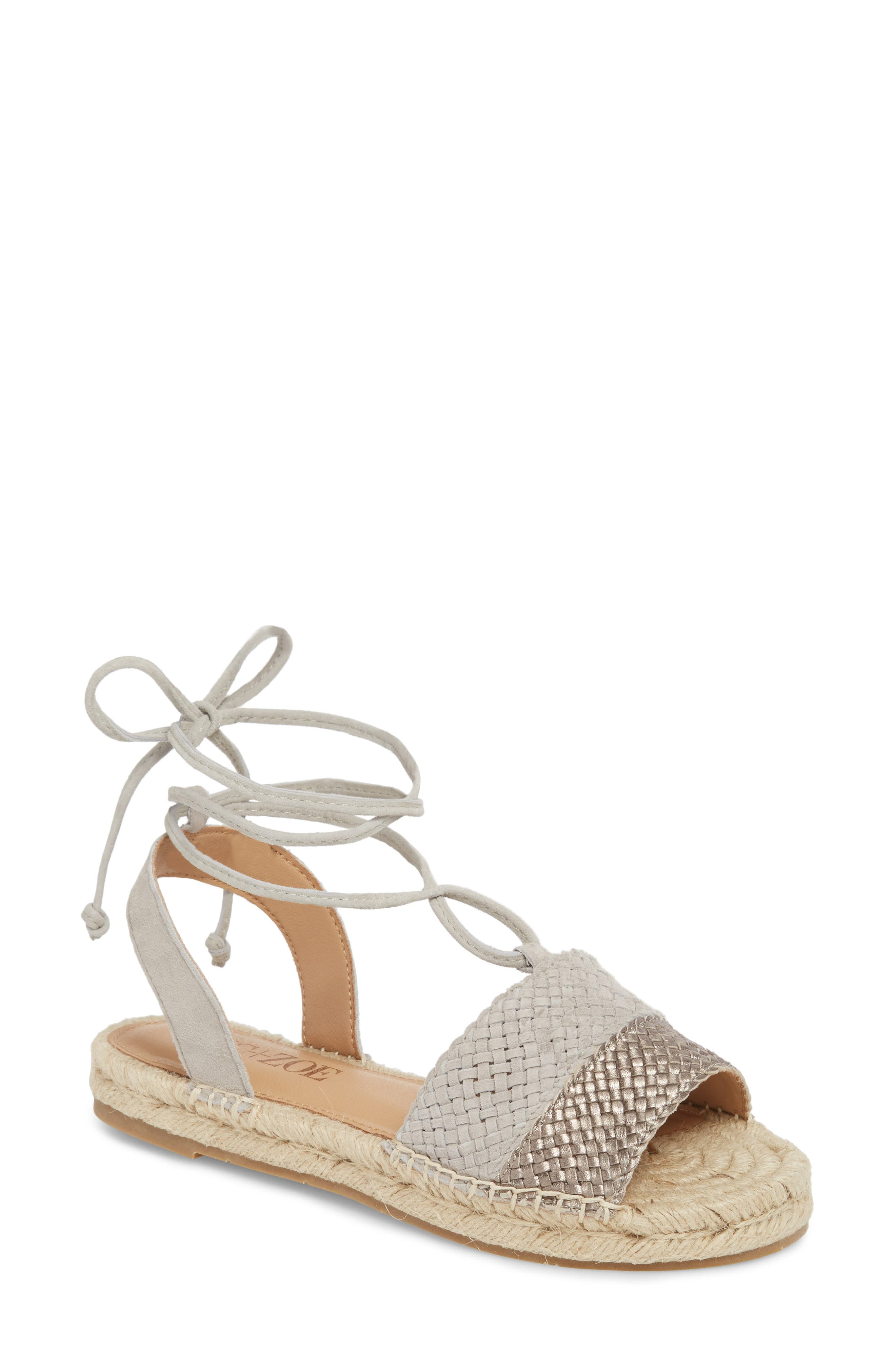 Eliza Ankle Wrap Espadrille Sandal,                             Main thumbnail 1, color,                             Pewter/ French Linen