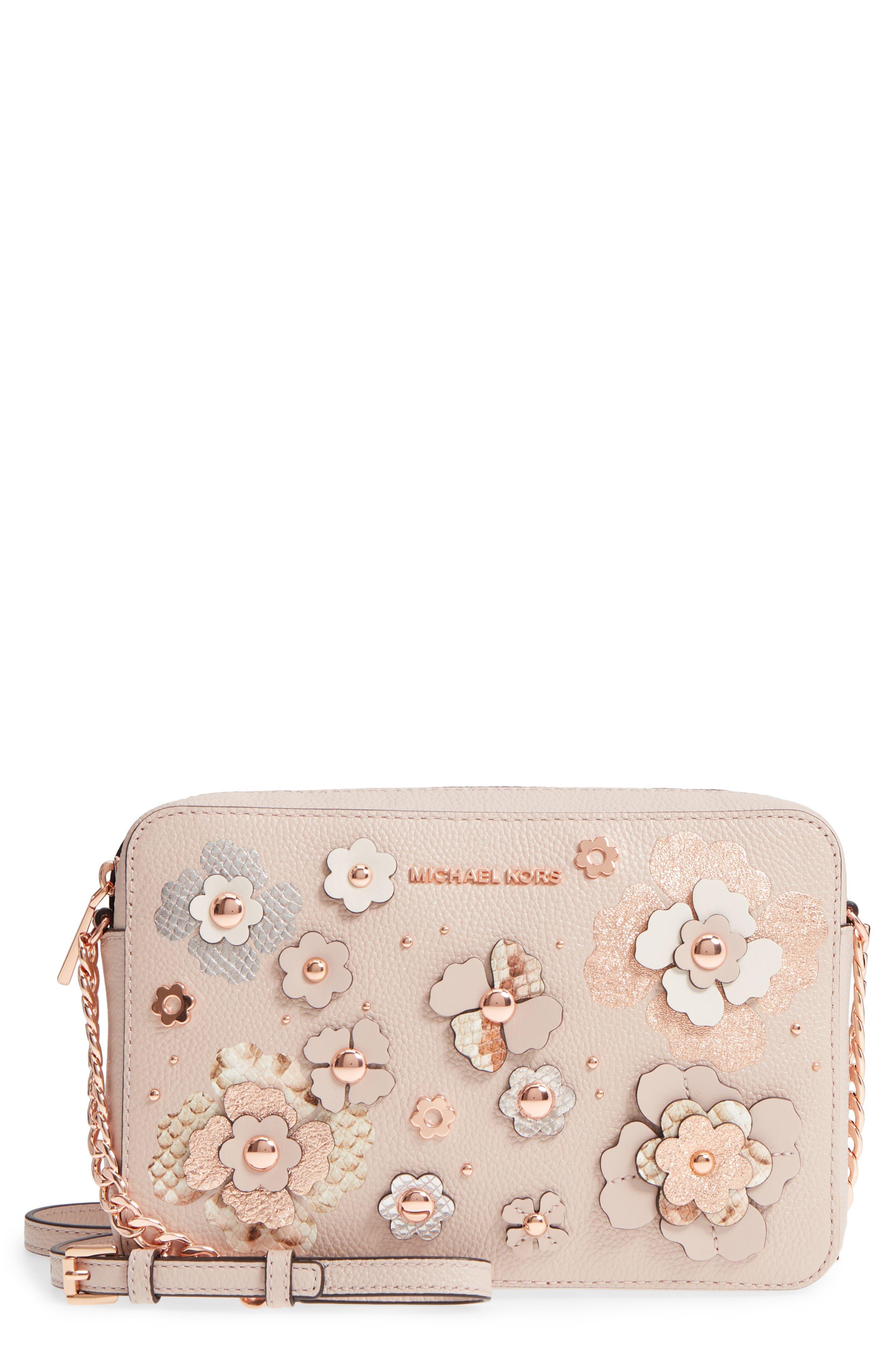 MICHAEL Michael Kors Jet Set Floral Embellished Leather Crossbody Bag
