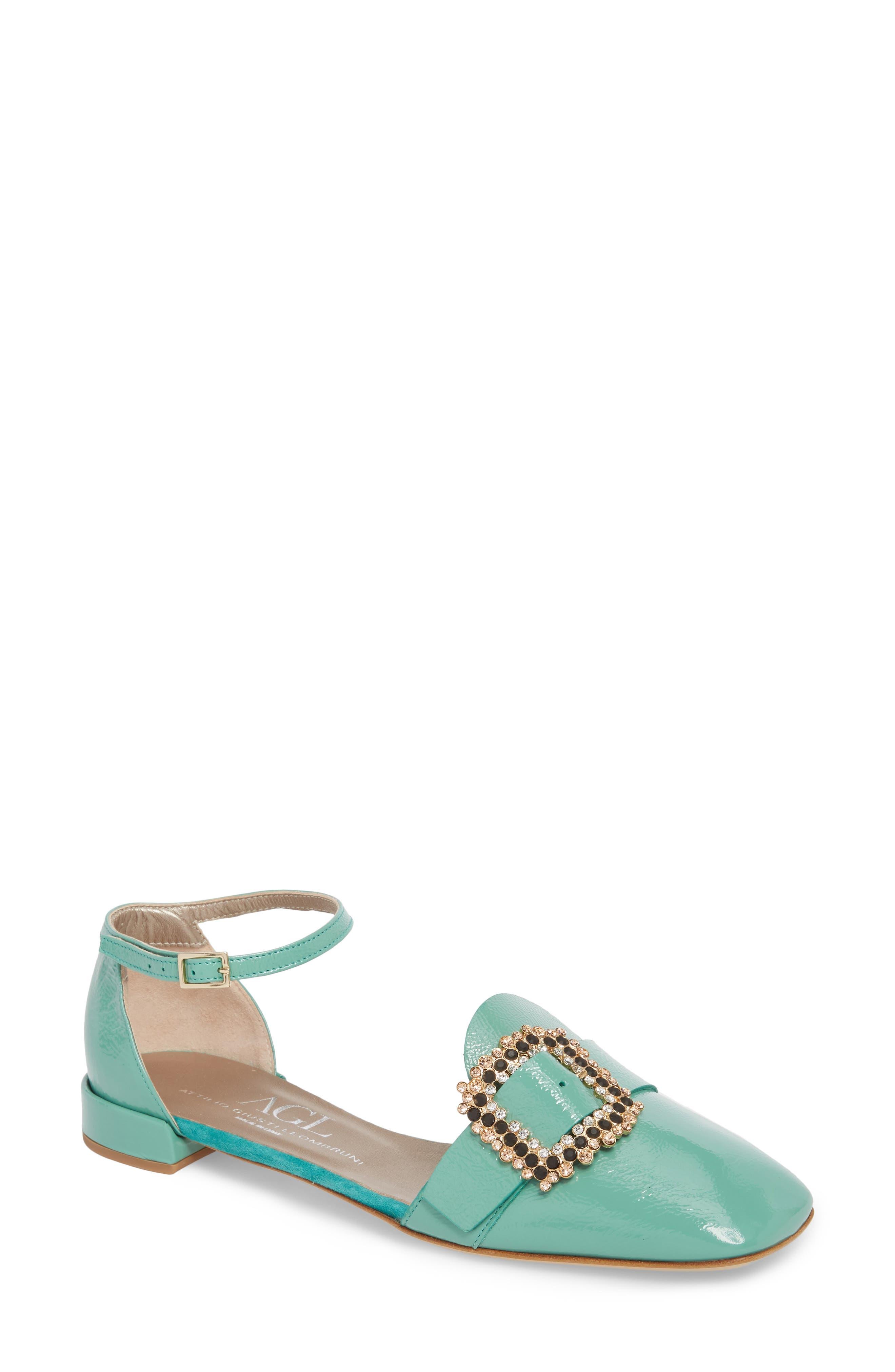 AGL Ornament Ankle Strap Flat (Women)