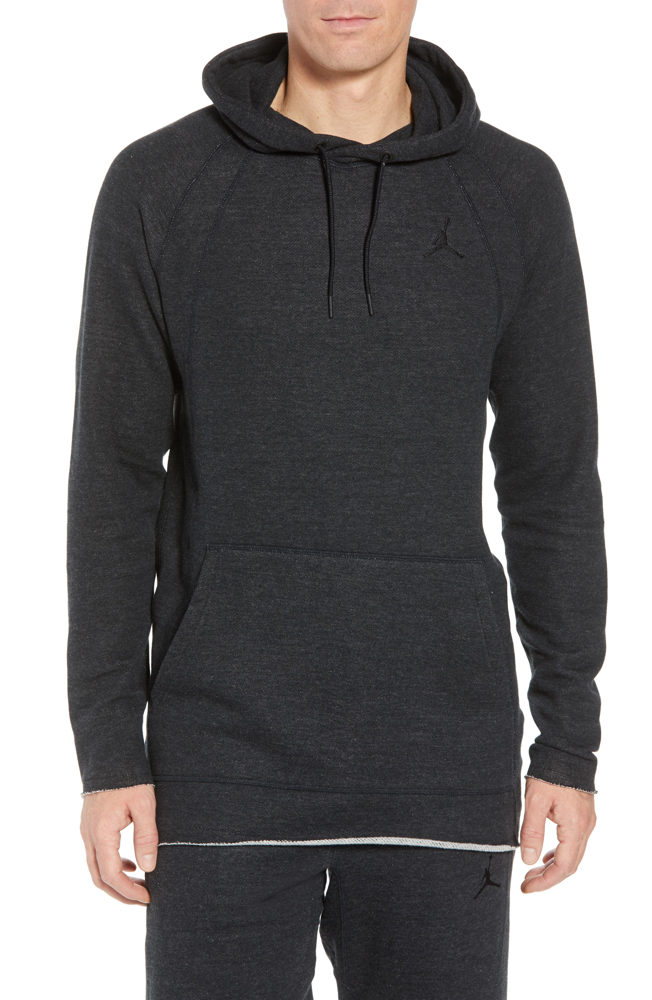Wings Light French Terry Hoodie,                         Main,                         color, Black Heather/ Black