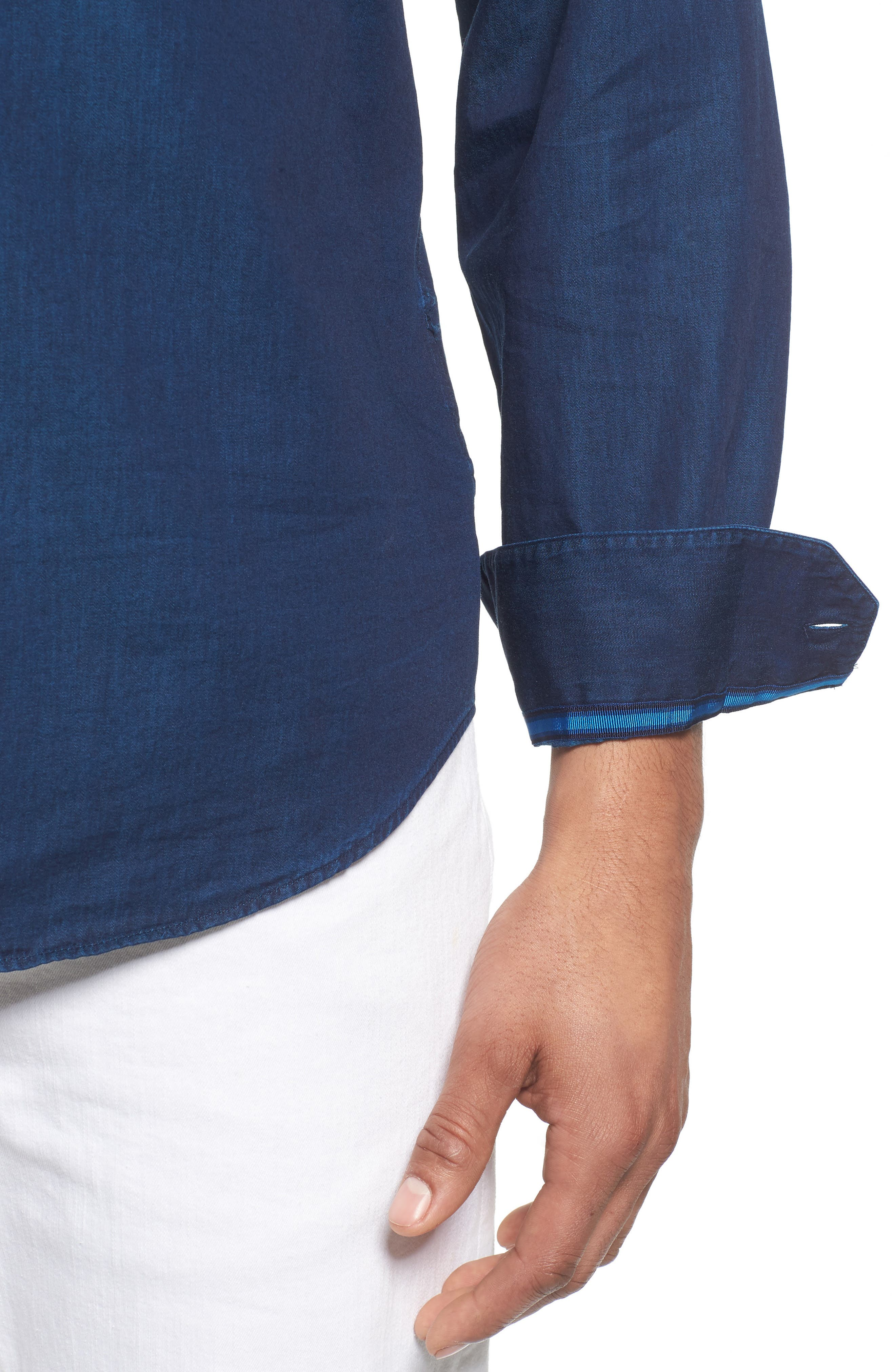 Classic Fit Indigo Sport Shirt,                             Alternate thumbnail 2, color,                             Navy