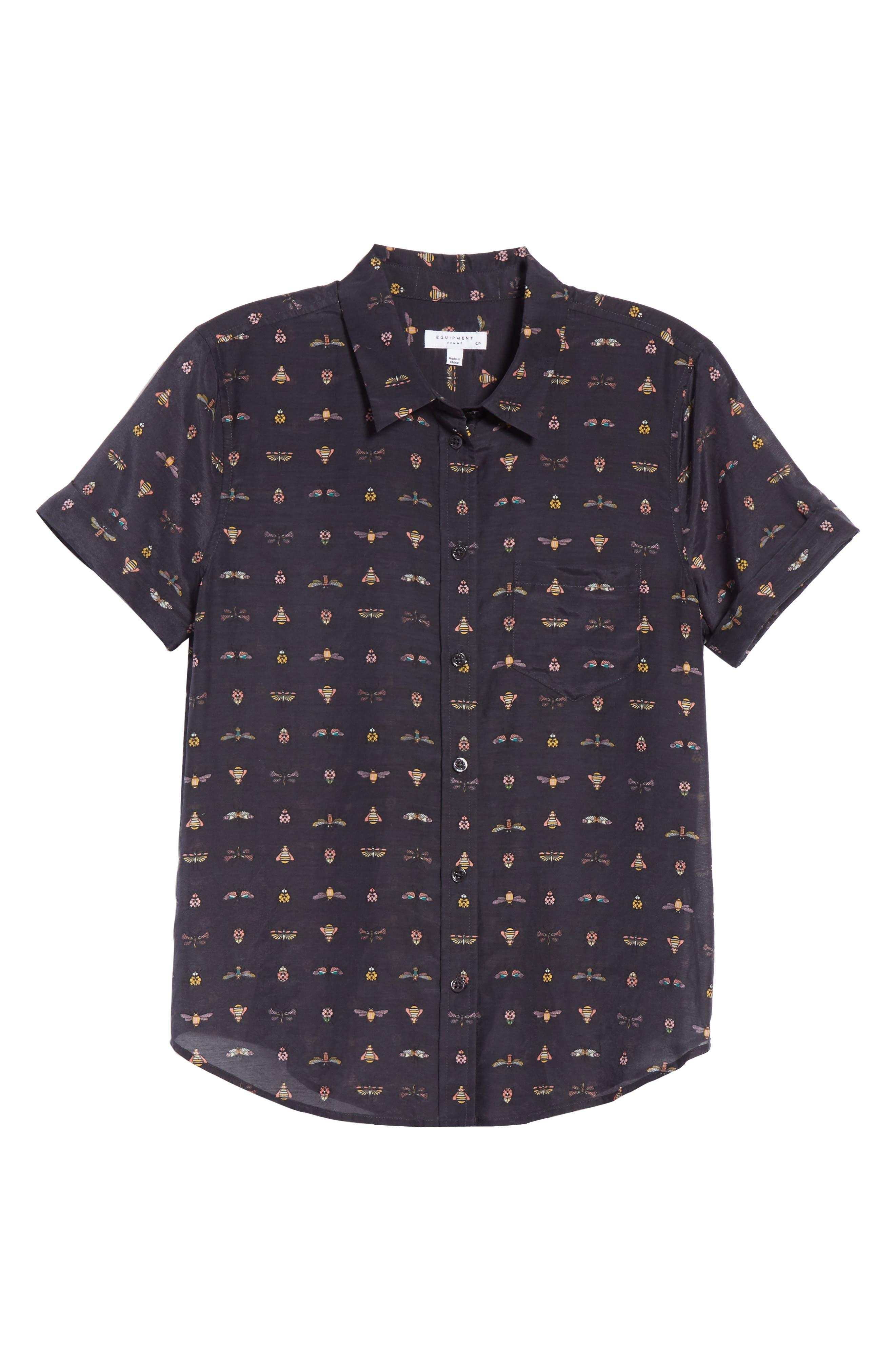 Elley Cotton & Silk Shirt,                             Alternate thumbnail 6, color,                             Eclipse Multi
