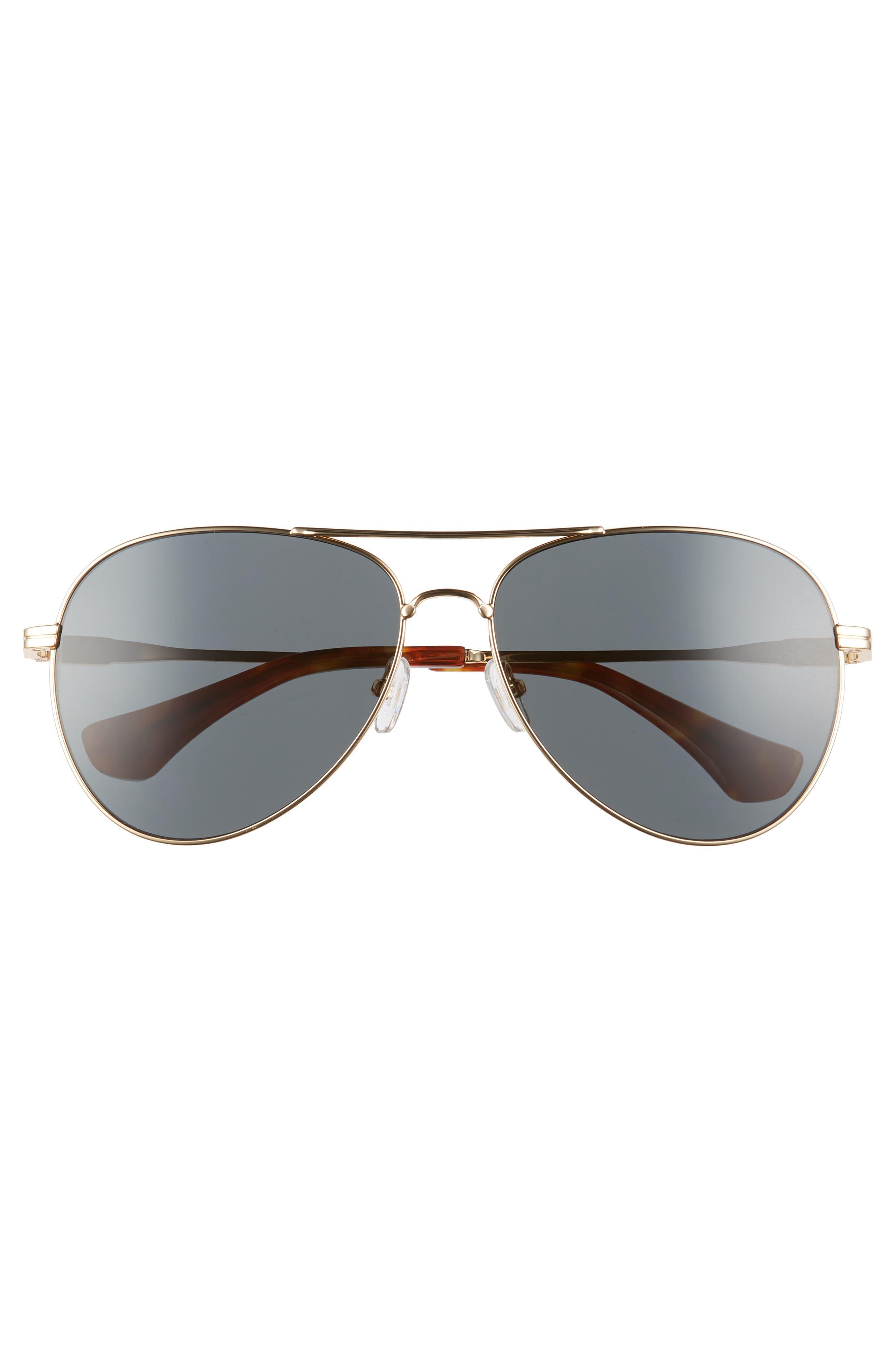 Lodi 61mm Mirrored Aviator Sunglasses,                             Alternate thumbnail 3, color,                             Gold Wire/ Black Solid