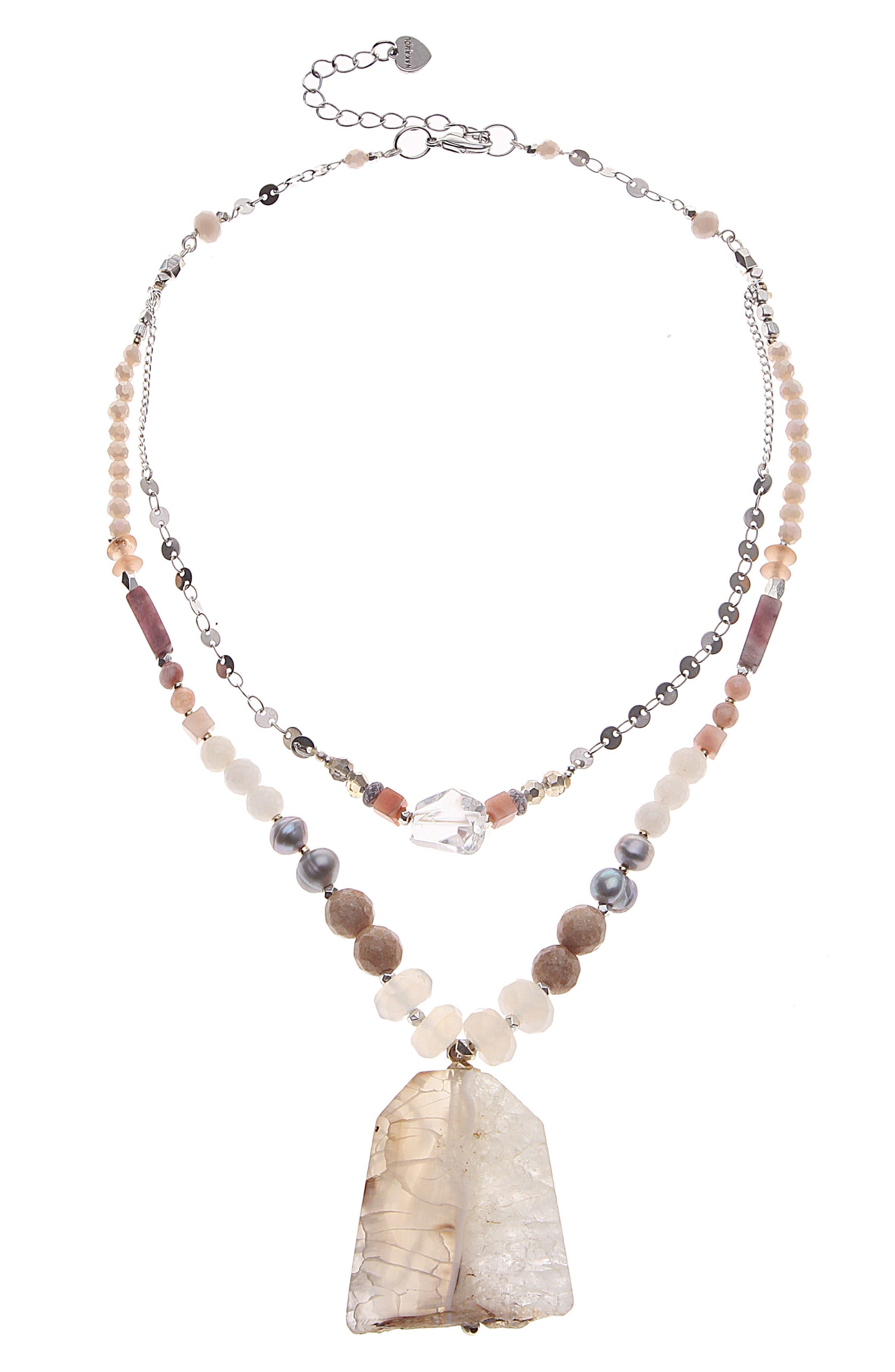 Quartz & Agate 2 Layer Statement Necklace,                         Main,                         color, Nude