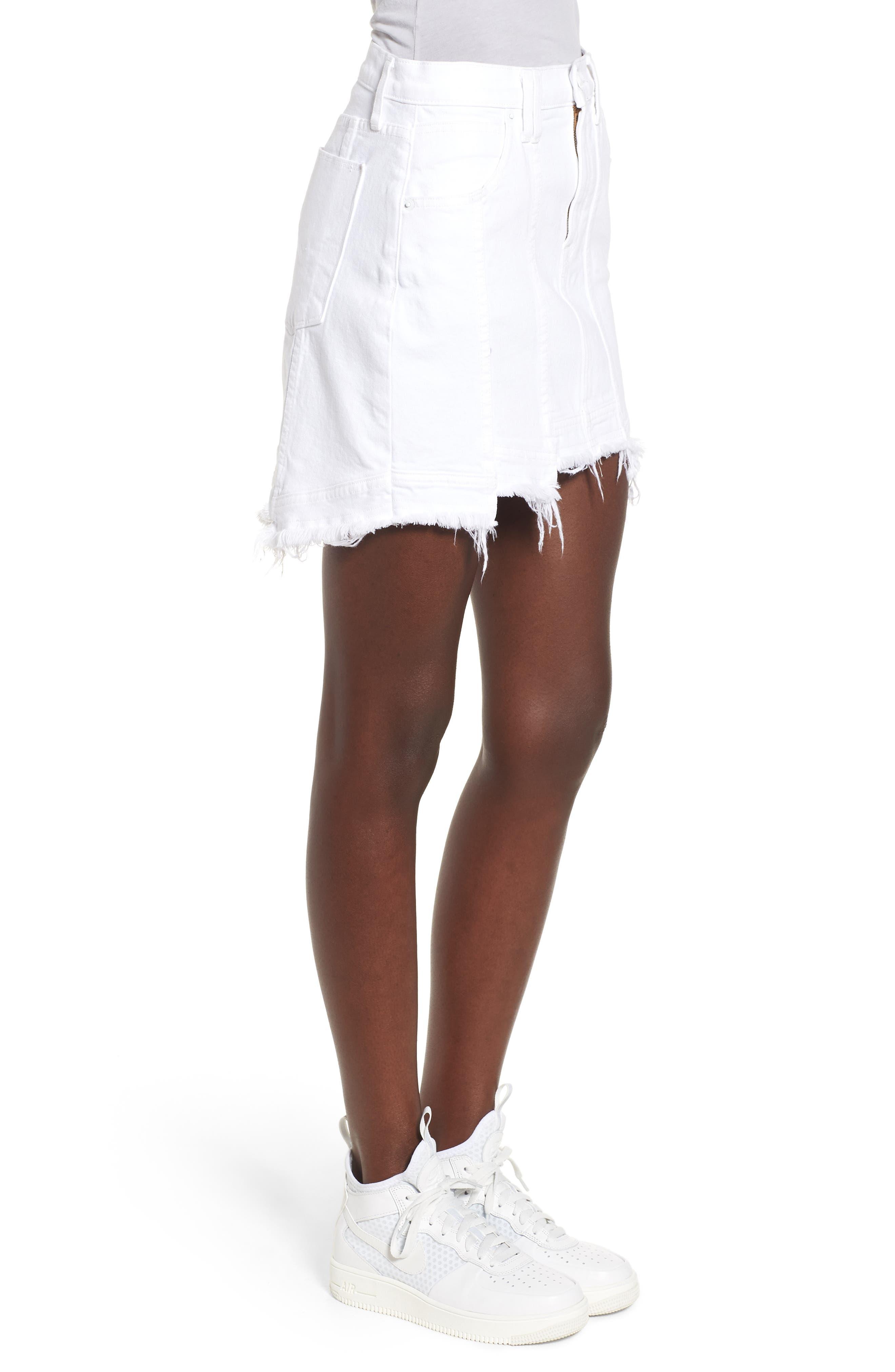 Raw Step Hem Denim Skirt,                             Alternate thumbnail 3, color,                             White