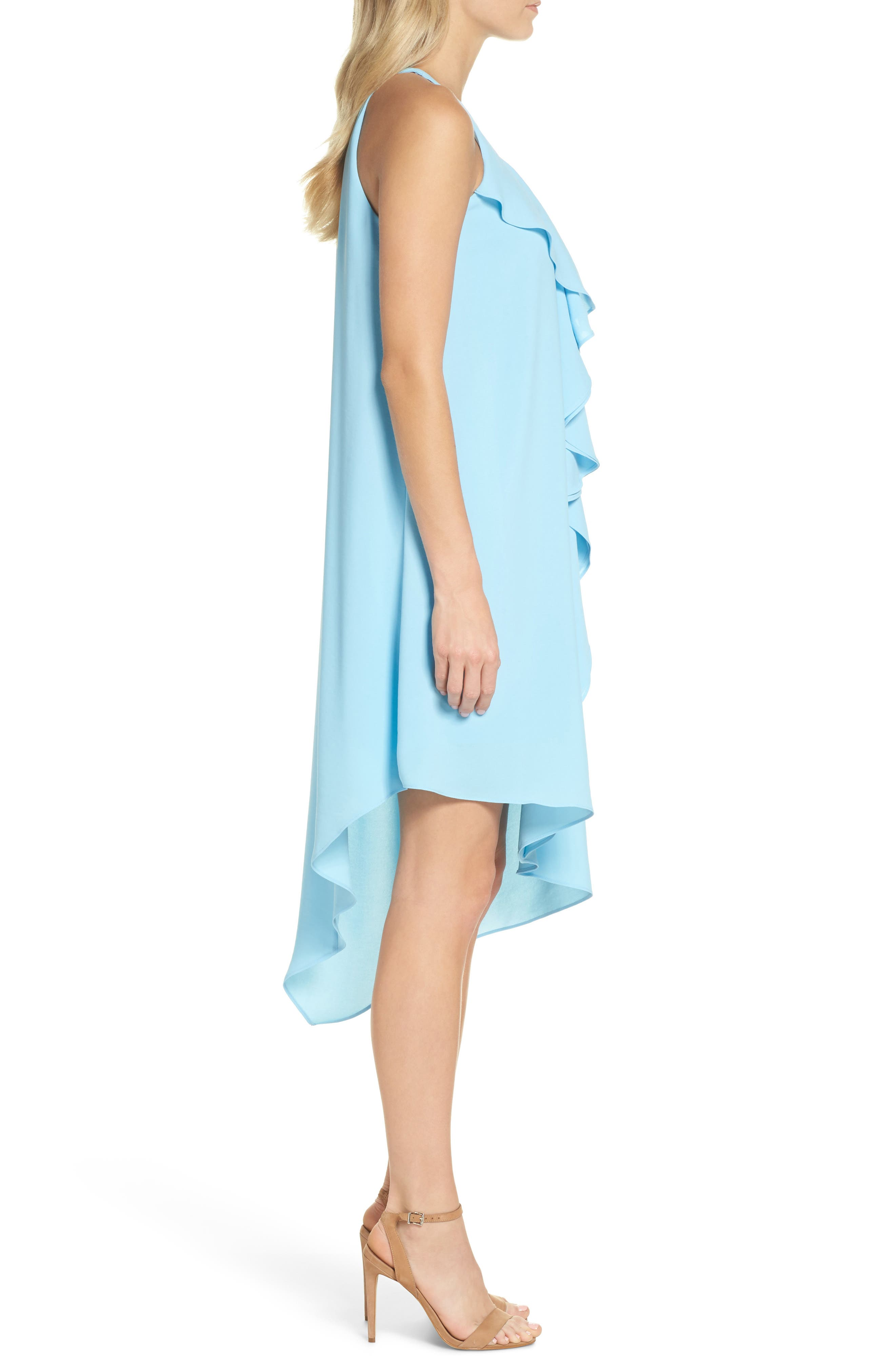 Double Ruffle Gauzy Crepe Shift Dress,                             Alternate thumbnail 3, color,                             Azure Mist