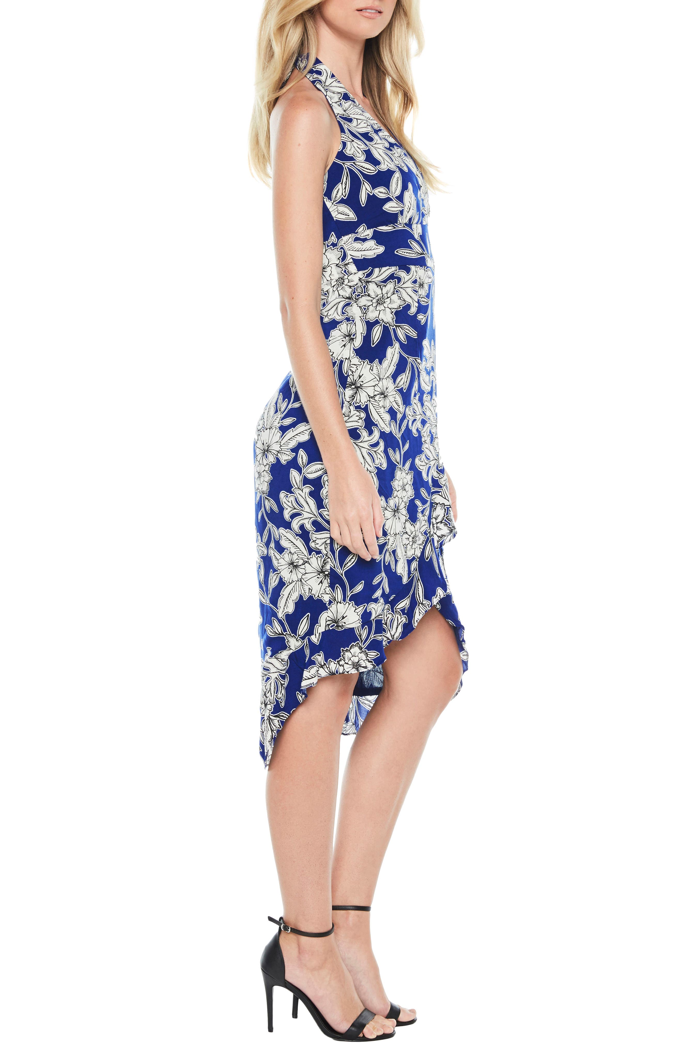 Petra Floral Dress,                             Alternate thumbnail 3, color,                             Cobalt Floral