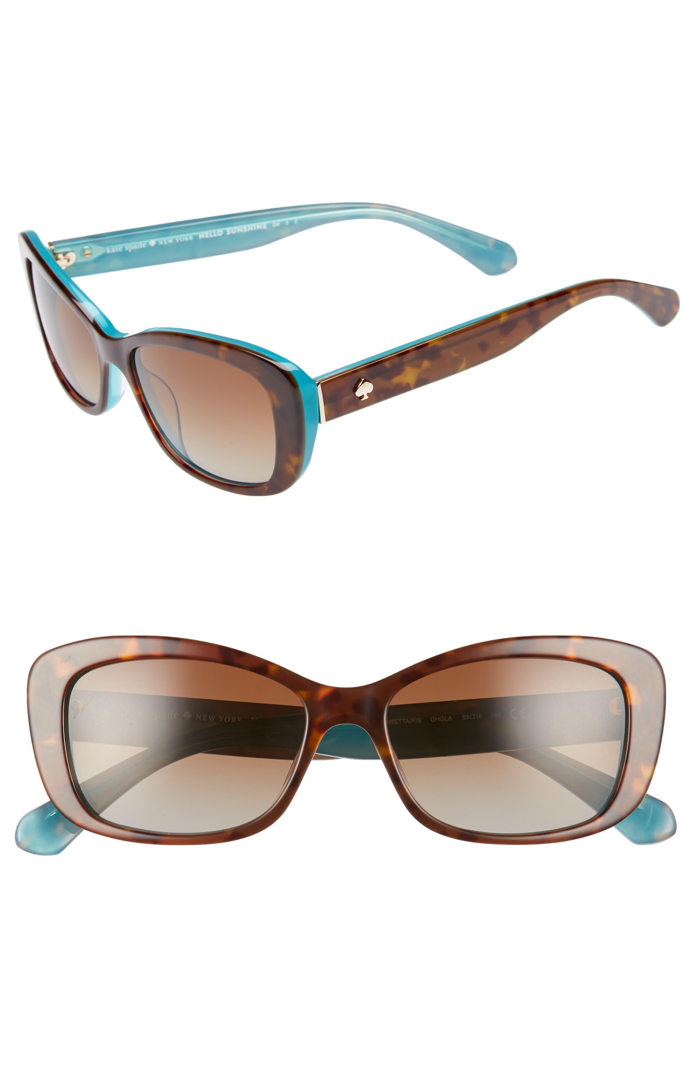 claretta 53mm polarized sunglasses,                         Main,                         color, Havana/ Aqua