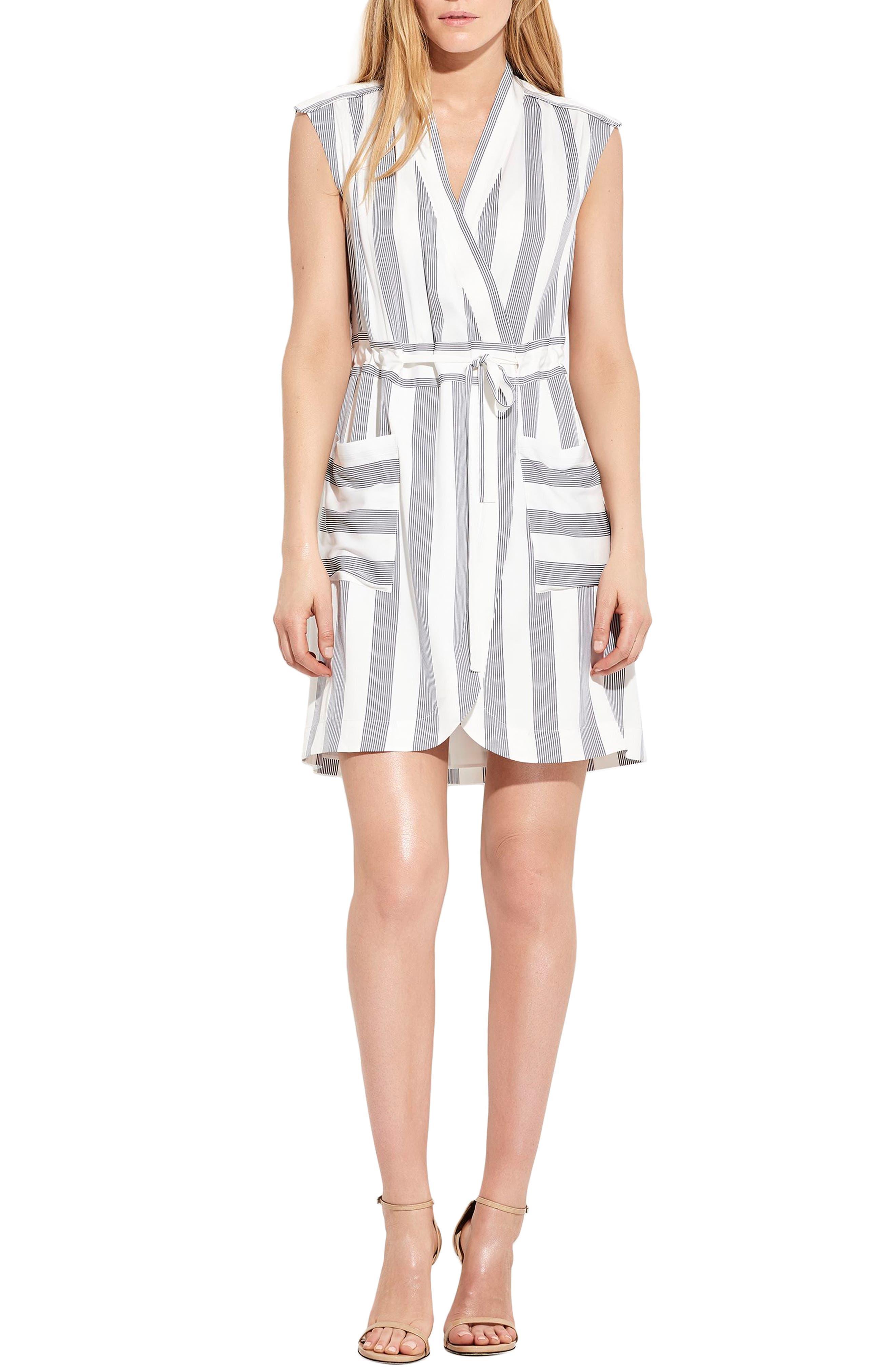 The Bomb Stretch Silk Dress,                         Main,                         color, White/ Navy Stripe