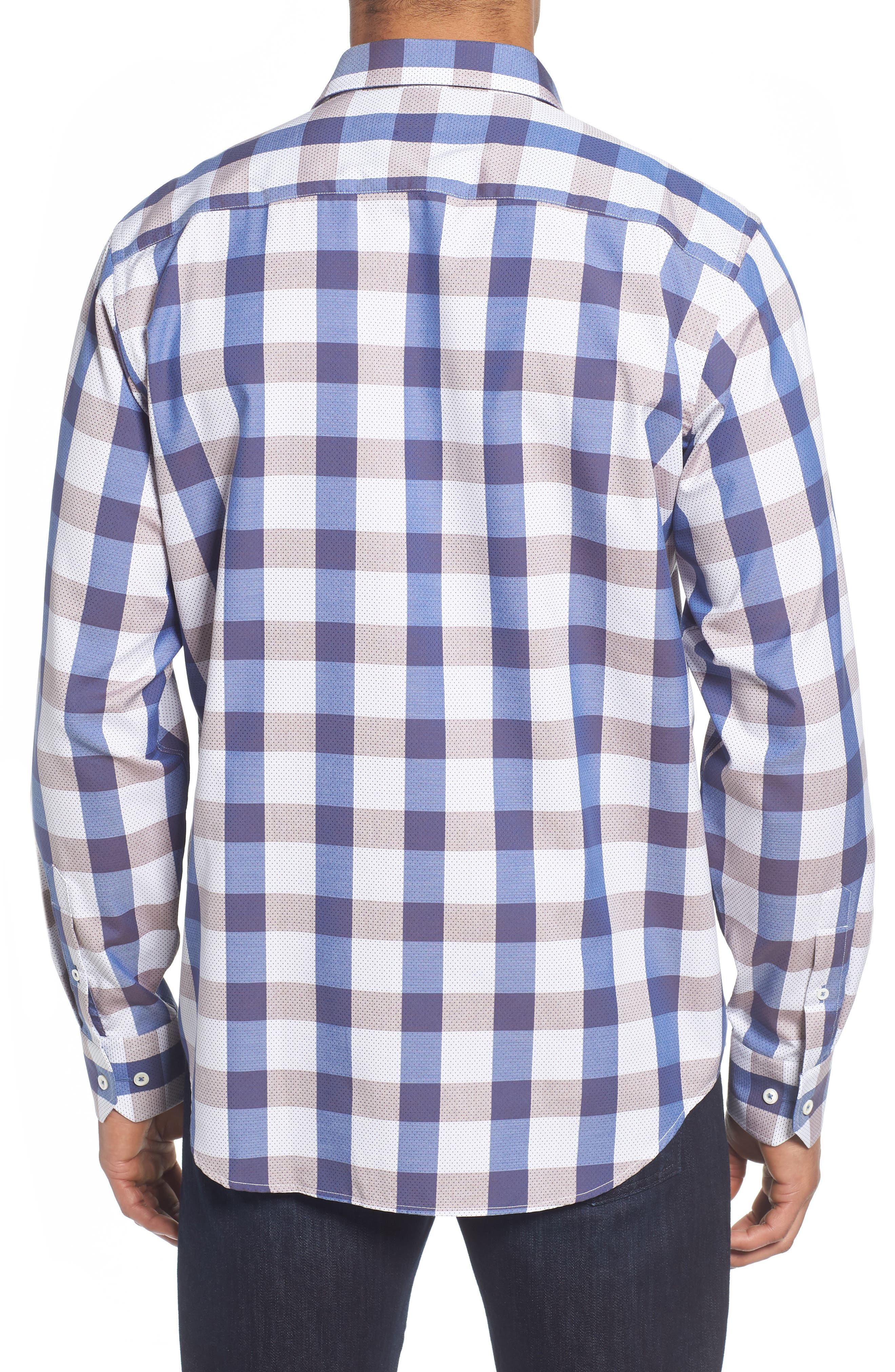 Classic Fit Check on Dot Sport Shirt,                             Alternate thumbnail 3, color,                             Clay