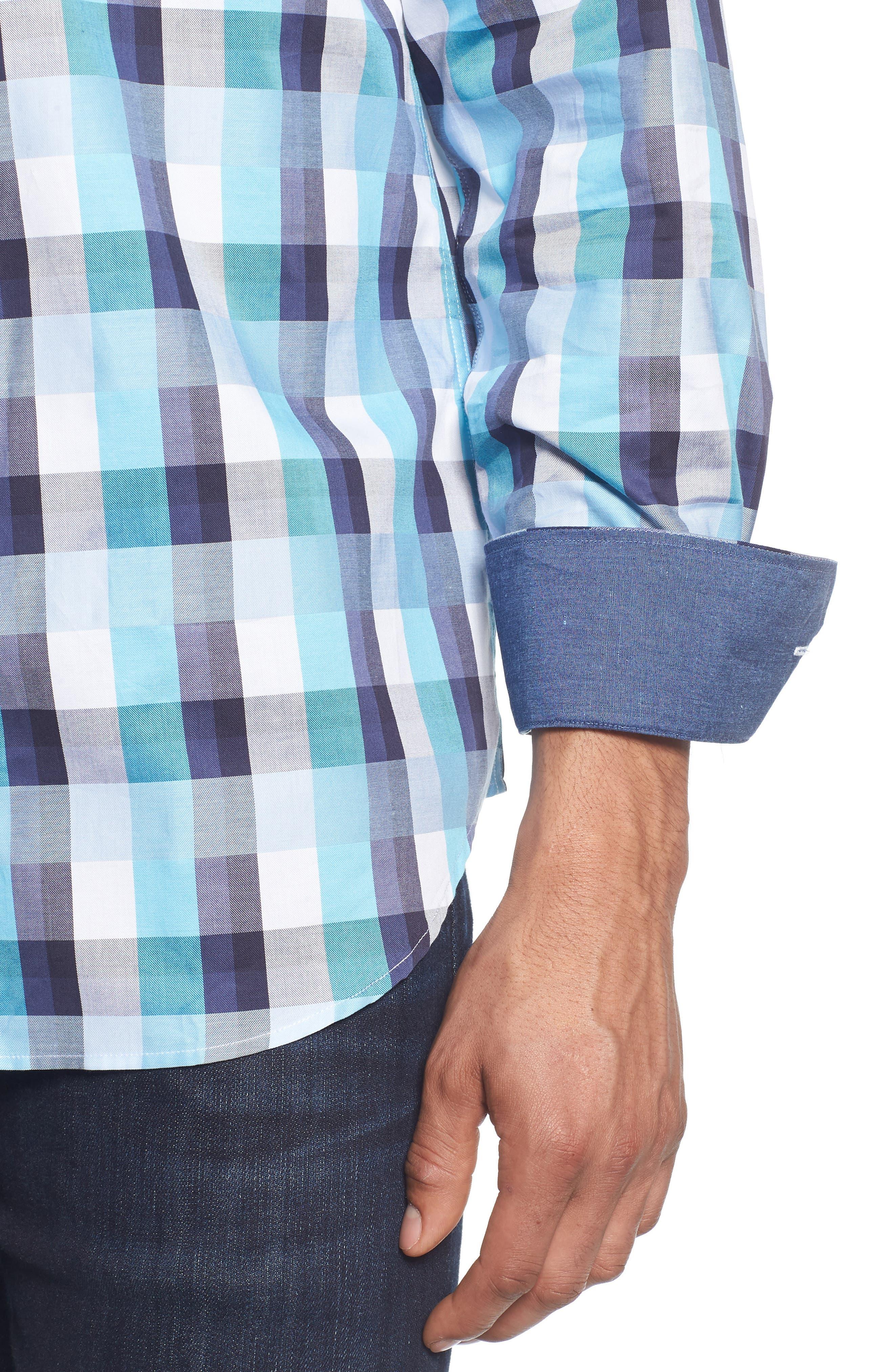 Classic Fit Check Sport Shirt,                             Alternate thumbnail 2, color,                             Seafoam