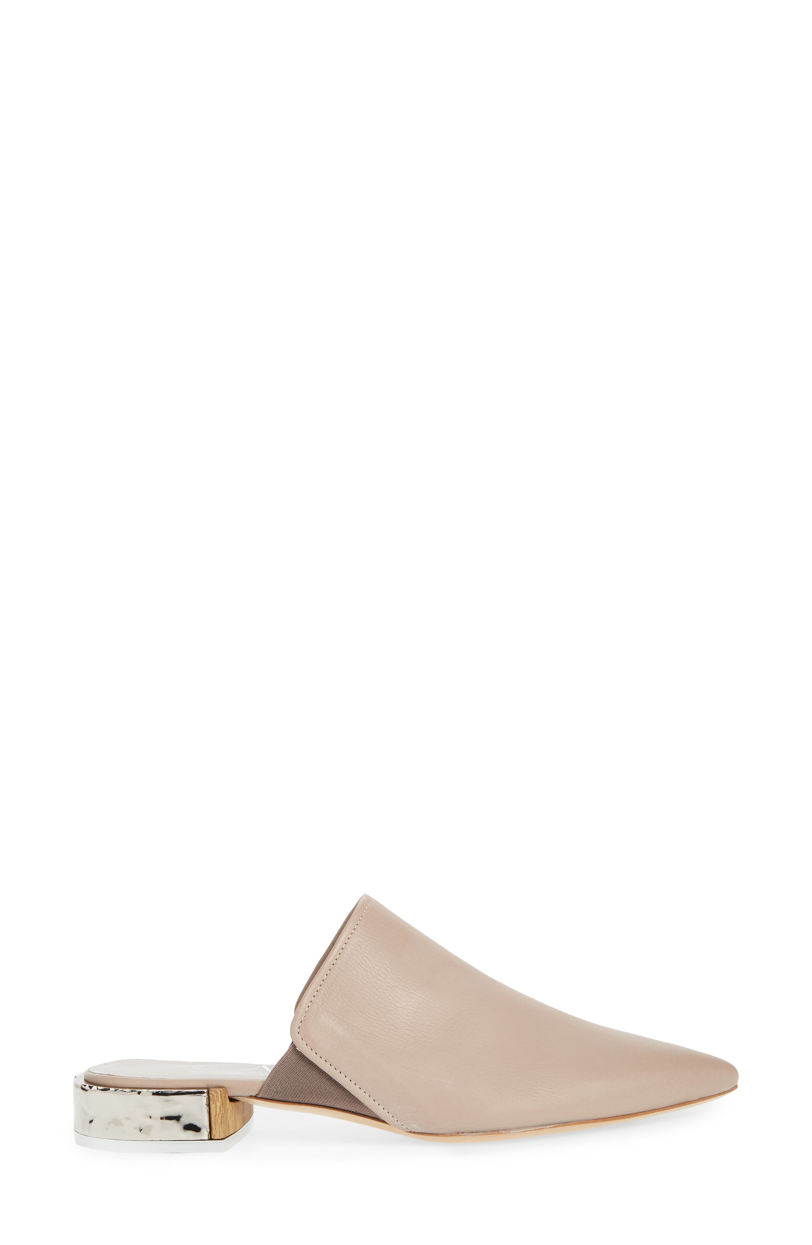 Pointed Toe Mule,                             Alternate thumbnail 3, color,                             Marble Leather