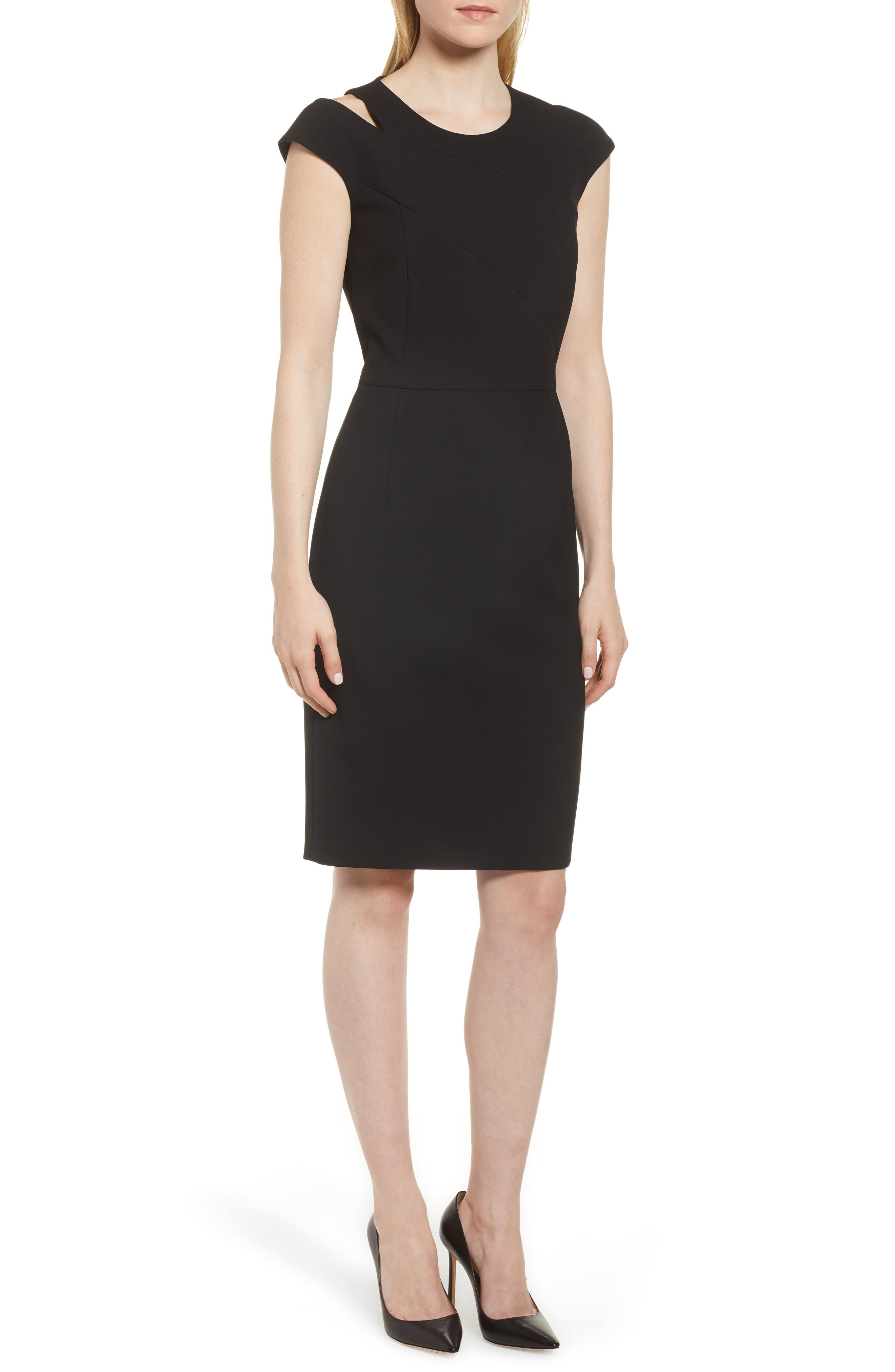 Danouk Shoulder Cutout Dress,                             Main thumbnail 1, color,                             Black