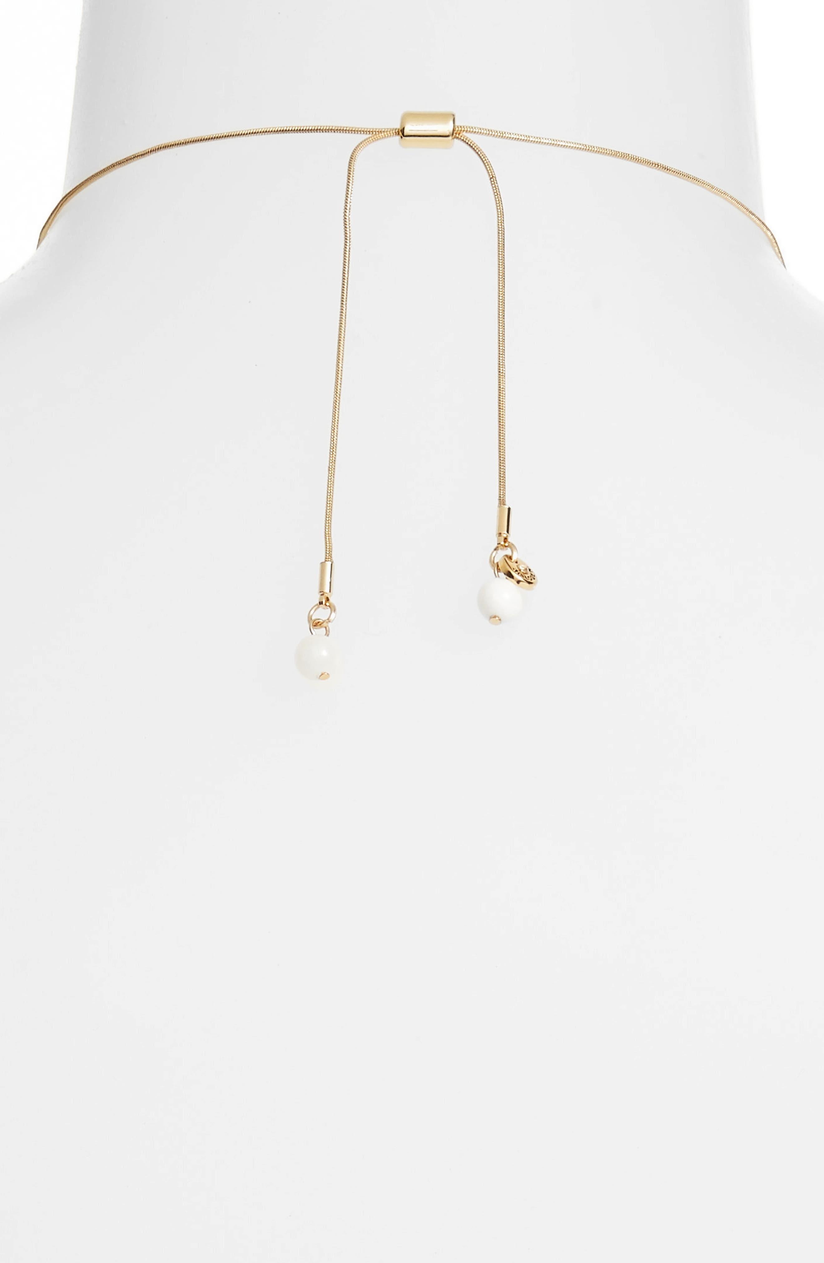 Wrapped Sphere Slider Necklace,                             Alternate thumbnail 3, color,                             White- Gold