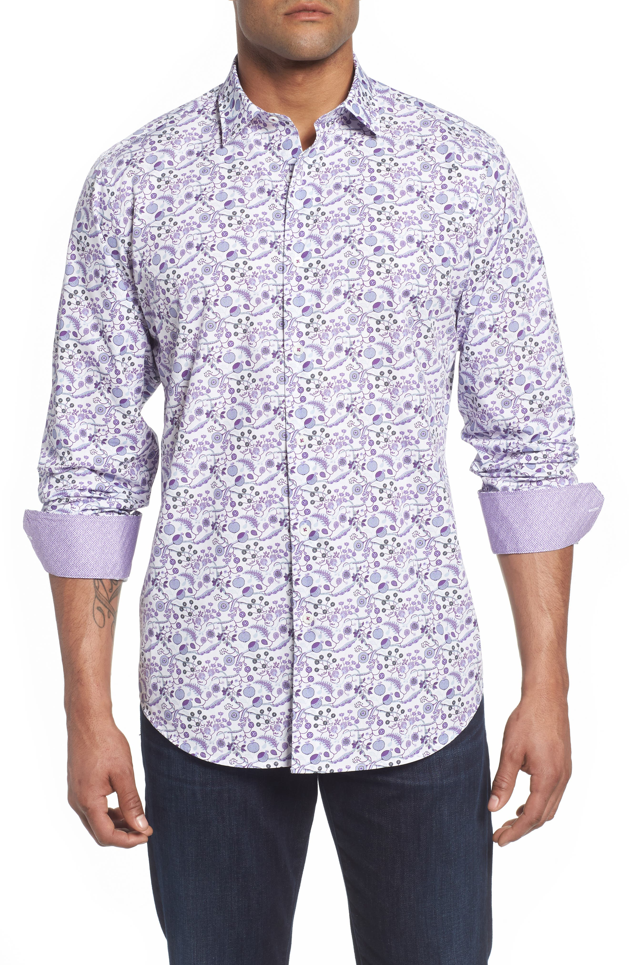 Classic Fit Fruit Medley Sport Shirt,                             Main thumbnail 1, color,                             Plum