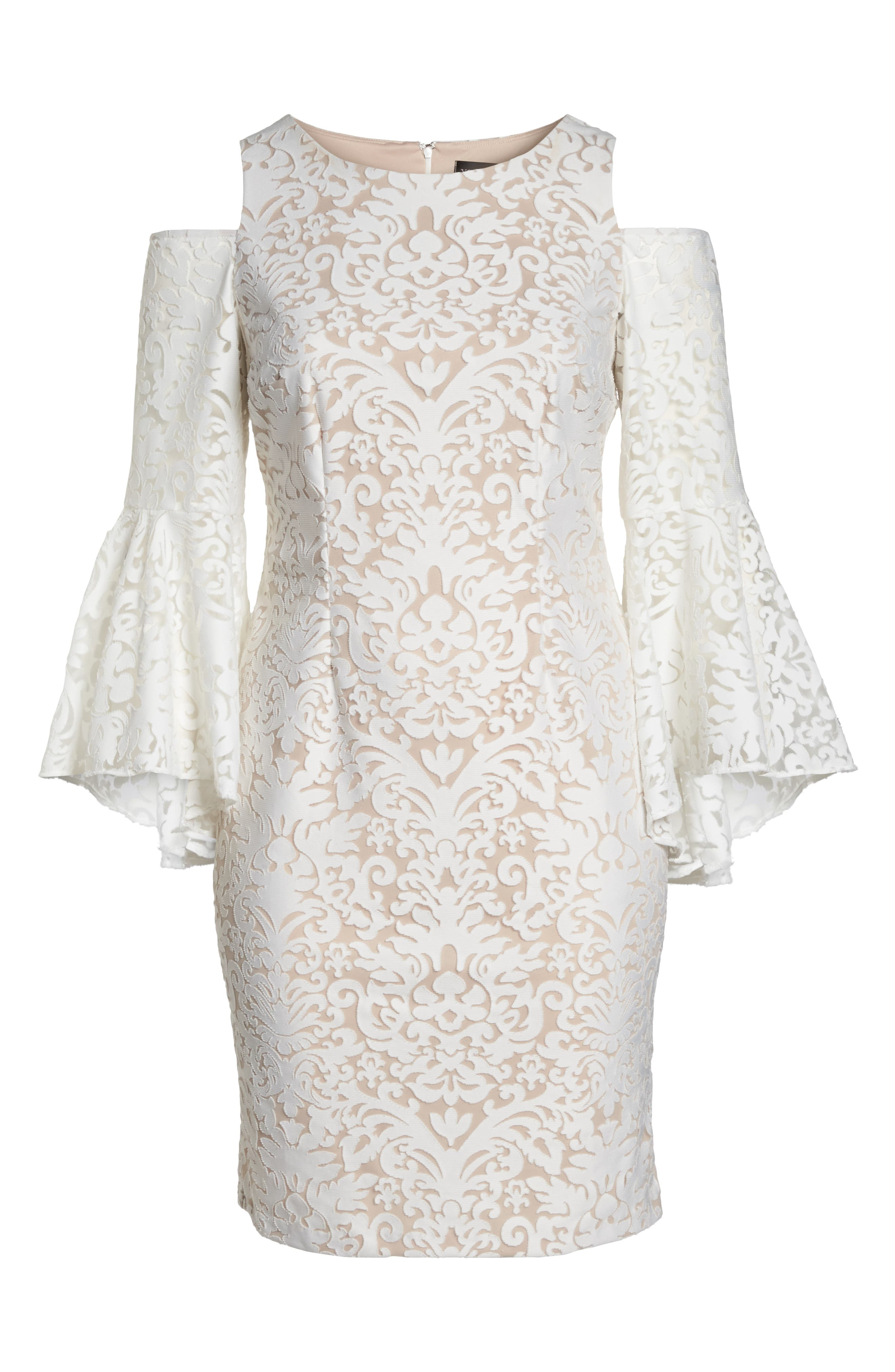 Lace Bell Sleeve Sheath Dress,                             Alternate thumbnail 6, color,                             Ivory/ Blush
