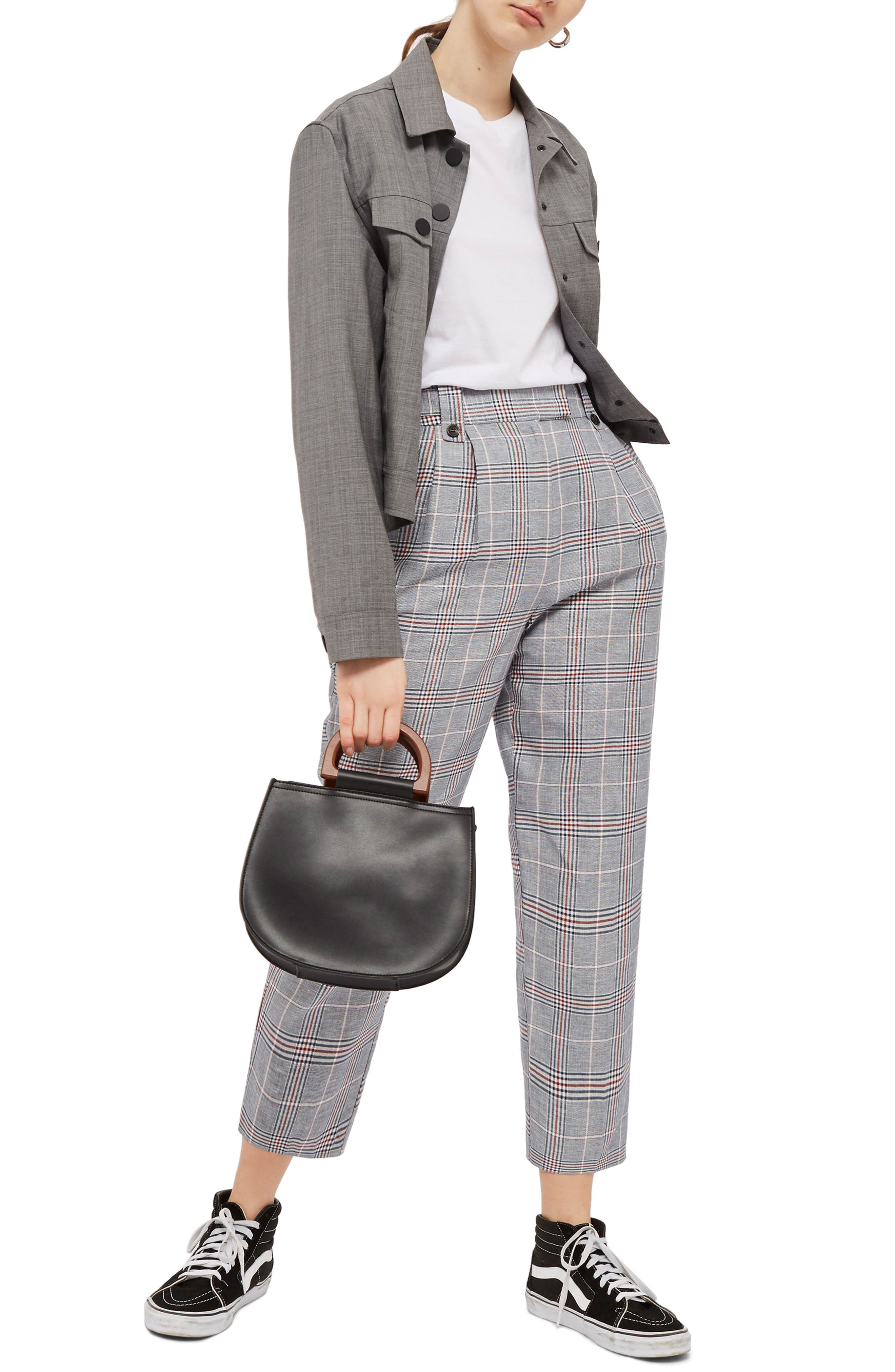 Main Image - Topshop Cham Linen Checked Trousers