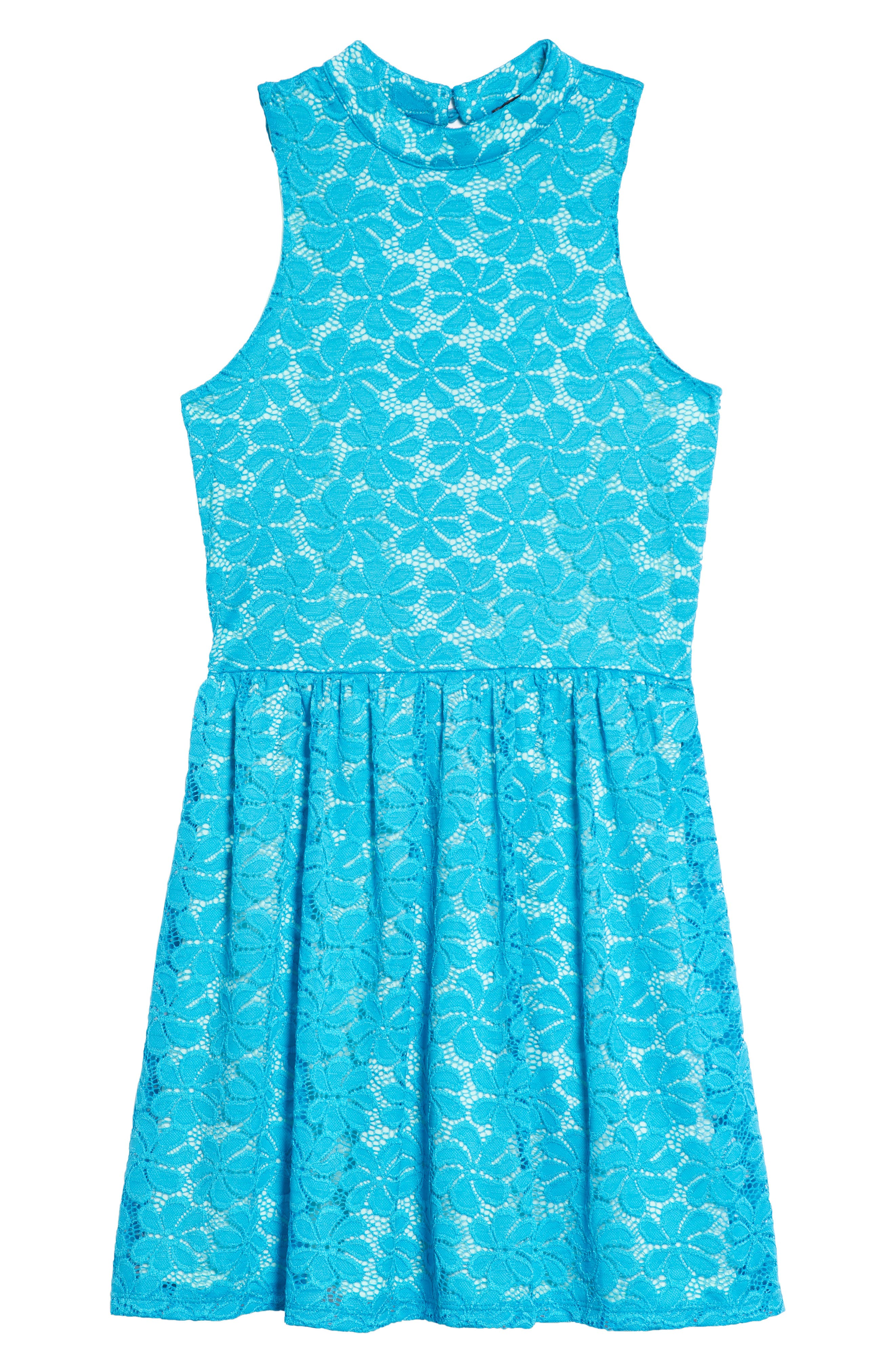 Hailee Lace Dress,                         Main,                         color, Teal