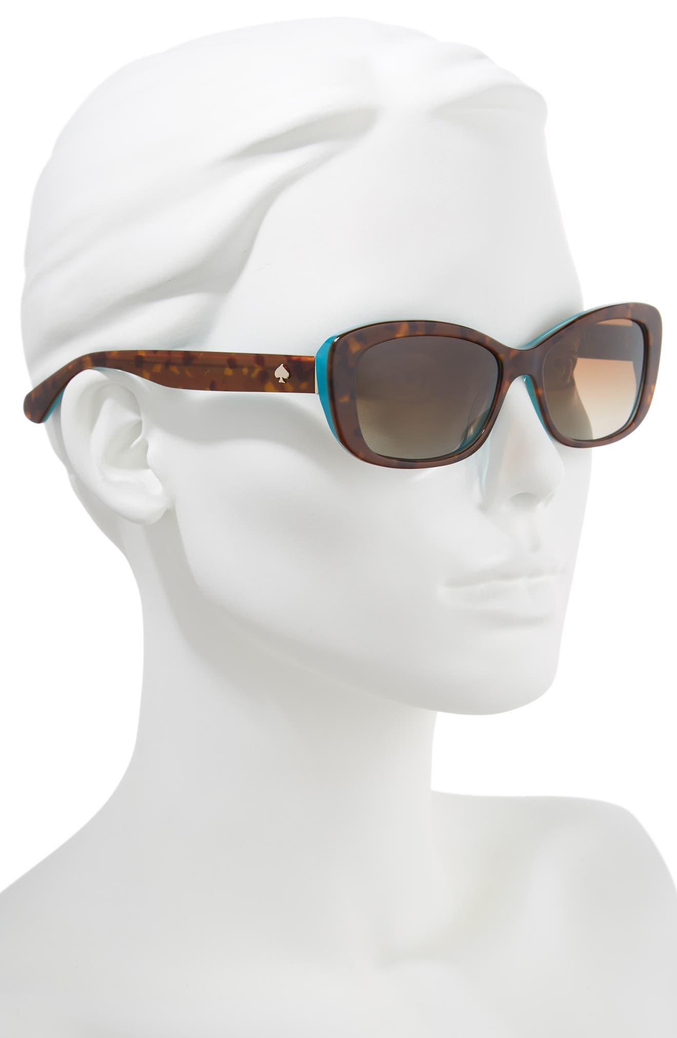 claretta 53mm polarized sunglasses,                             Alternate thumbnail 2, color,                             Havana/ Aqua