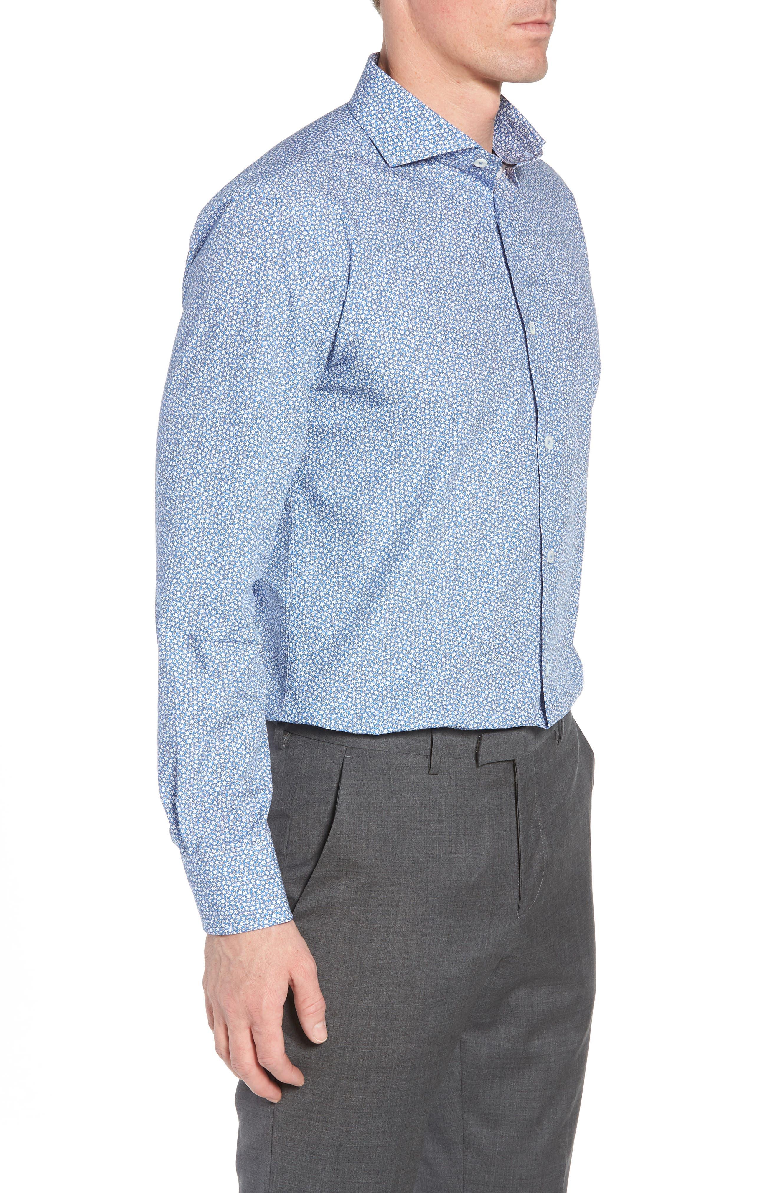 Trim Fit Print Dress Shirt,                             Alternate thumbnail 4, color,                             Classic Blue