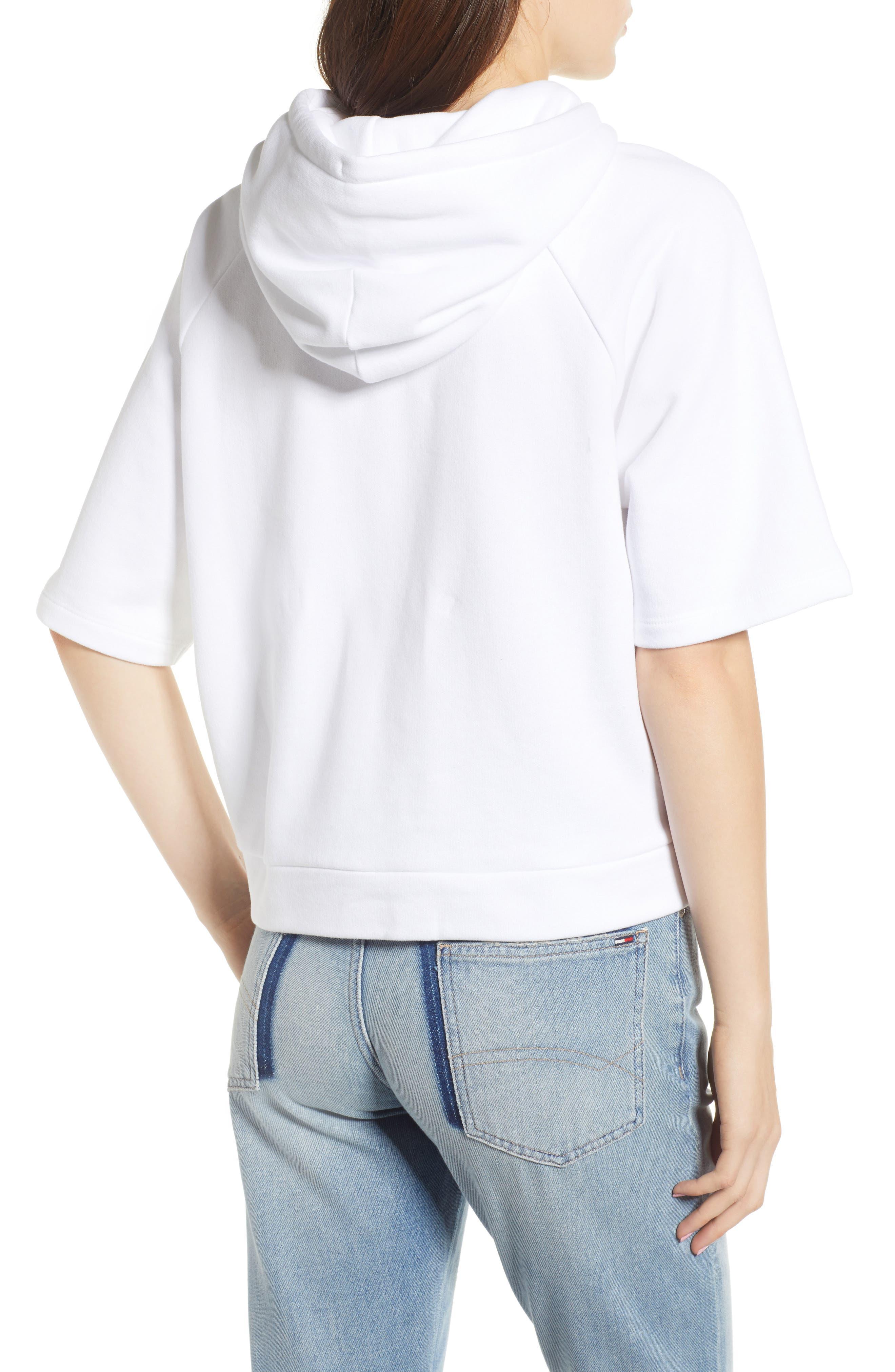Logo Short Sleeve Hoodie,                             Alternate thumbnail 2, color,                             Classic White