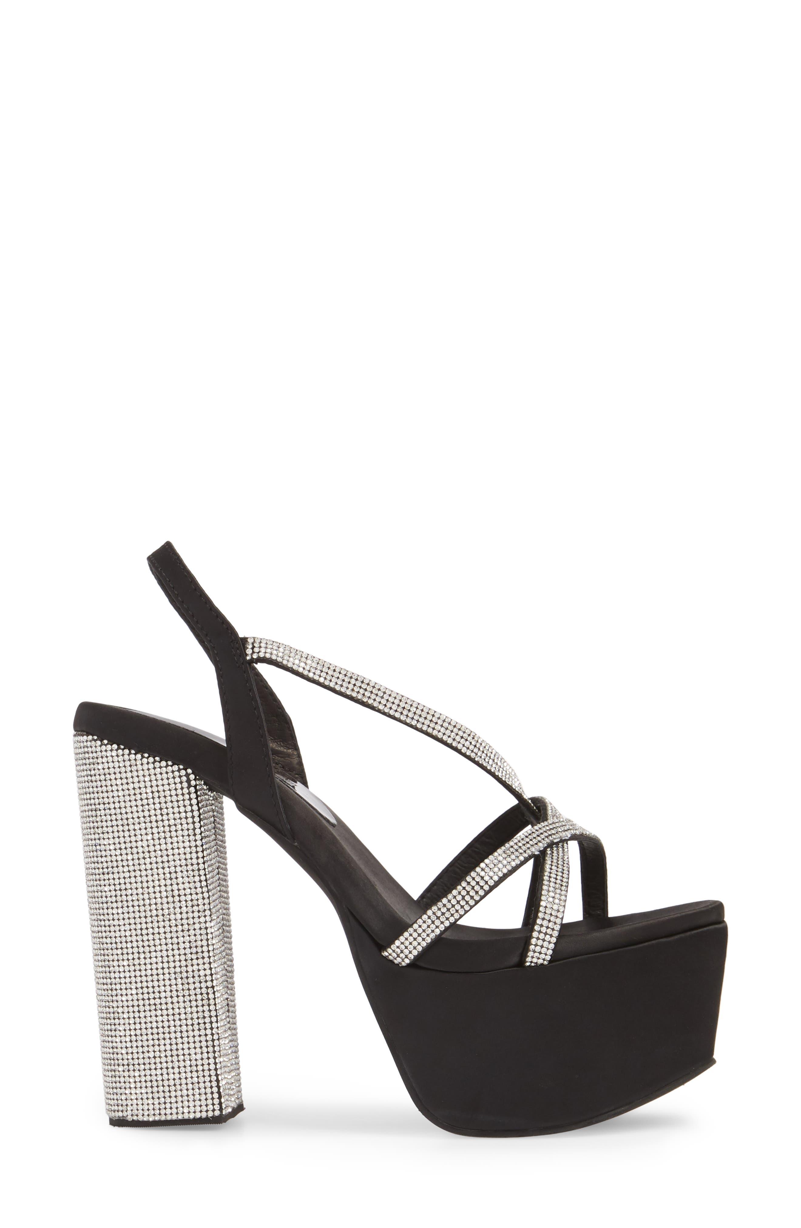 Upset Embellished Platform Sandal,                             Alternate thumbnail 3, color,                             Black Satin/ Silver