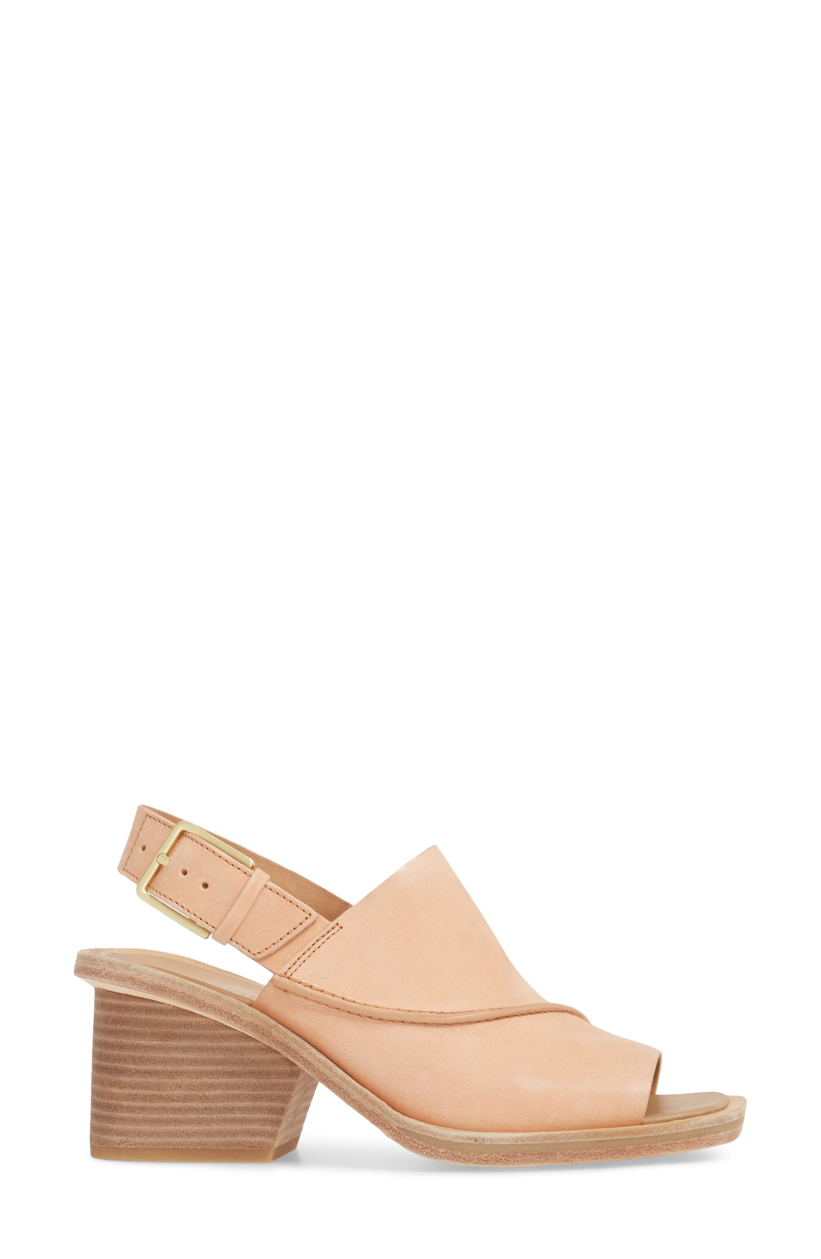 Clarks Bermudan Block Heel Sandal,                             Alternate thumbnail 3, color,                             Sandstone Nubuck Leather