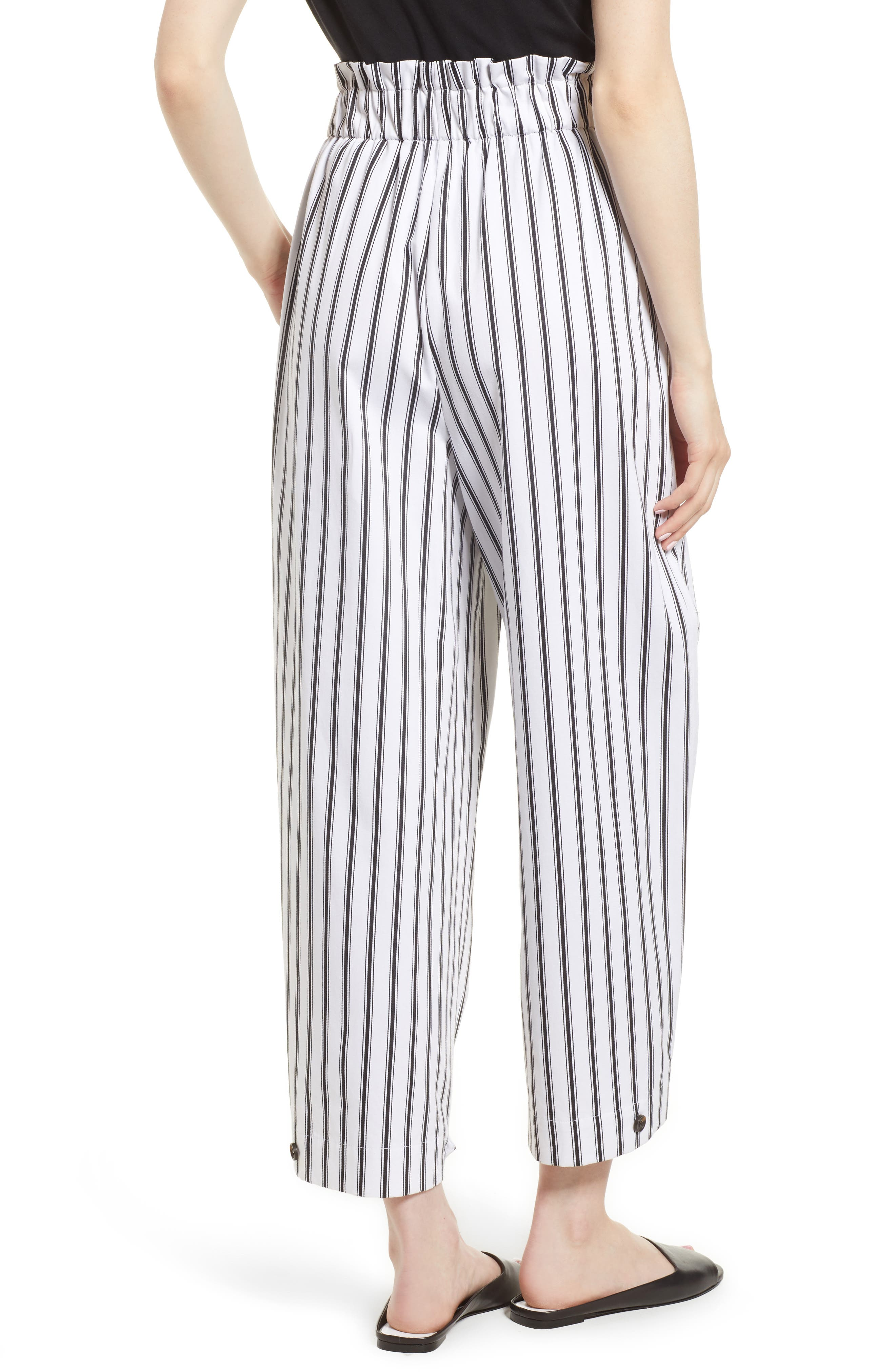 High Waist Convertible Wide Leg Pants,                             Alternate thumbnail 2, color,                             Black/ White Striped